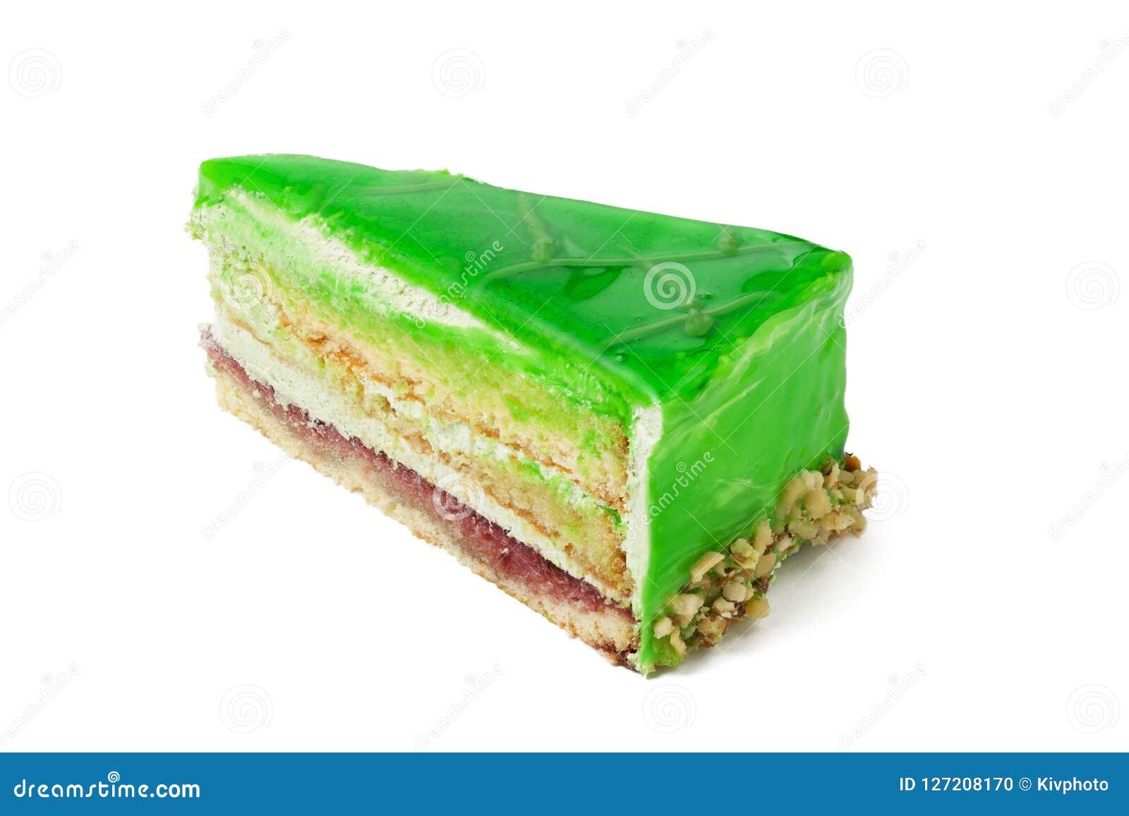 Parte de bolo do quivi isolada no fundo branco