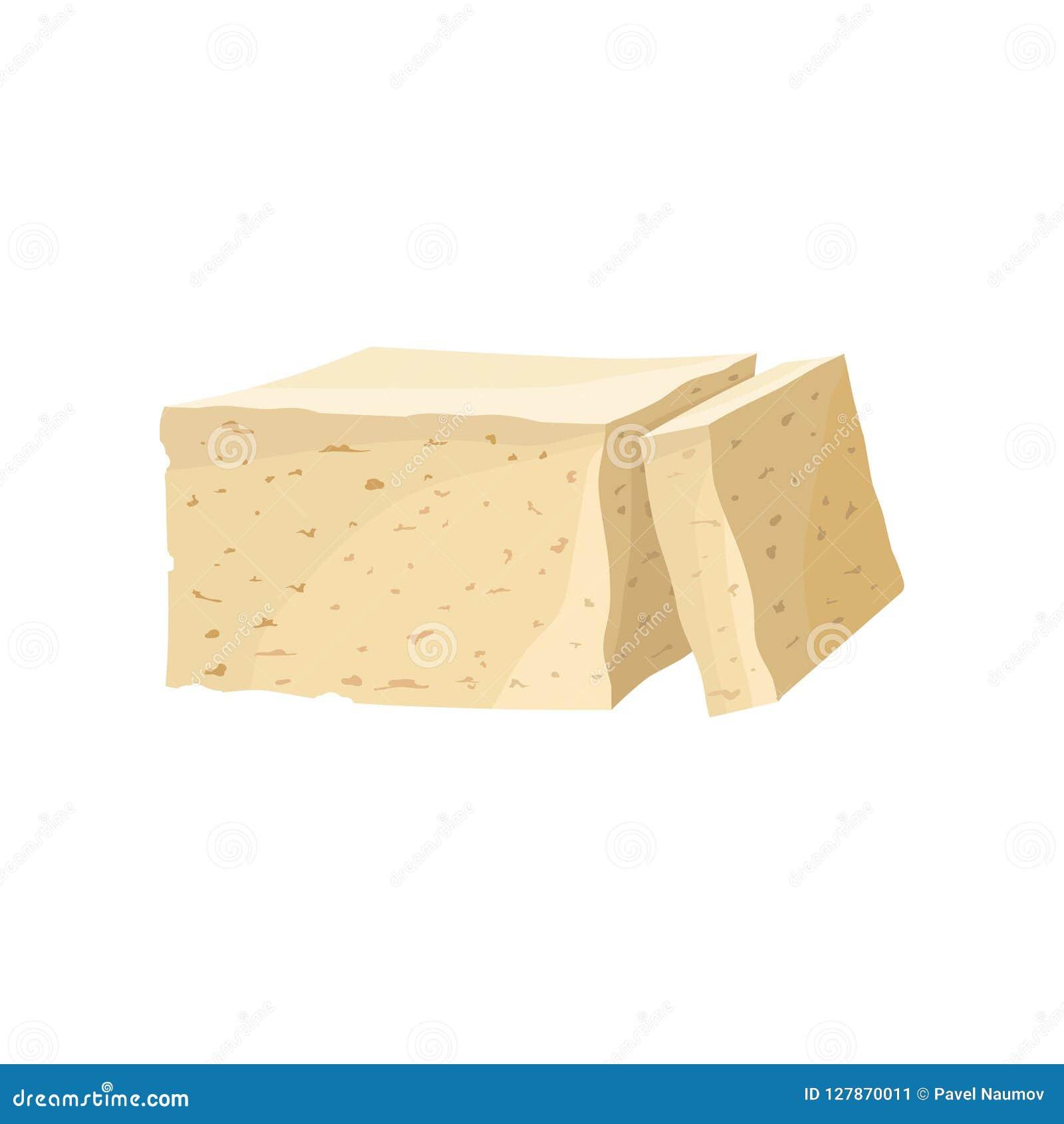 Parte de queijo do tofu, alimento da dieta saudável, fonte do vegetariano da ilustração do vetor da proteína em um fundo branco