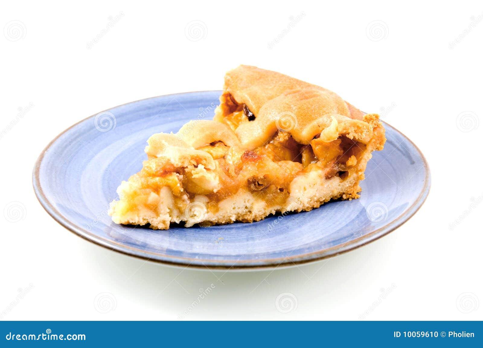 Parte de torta de maçã na placa azul