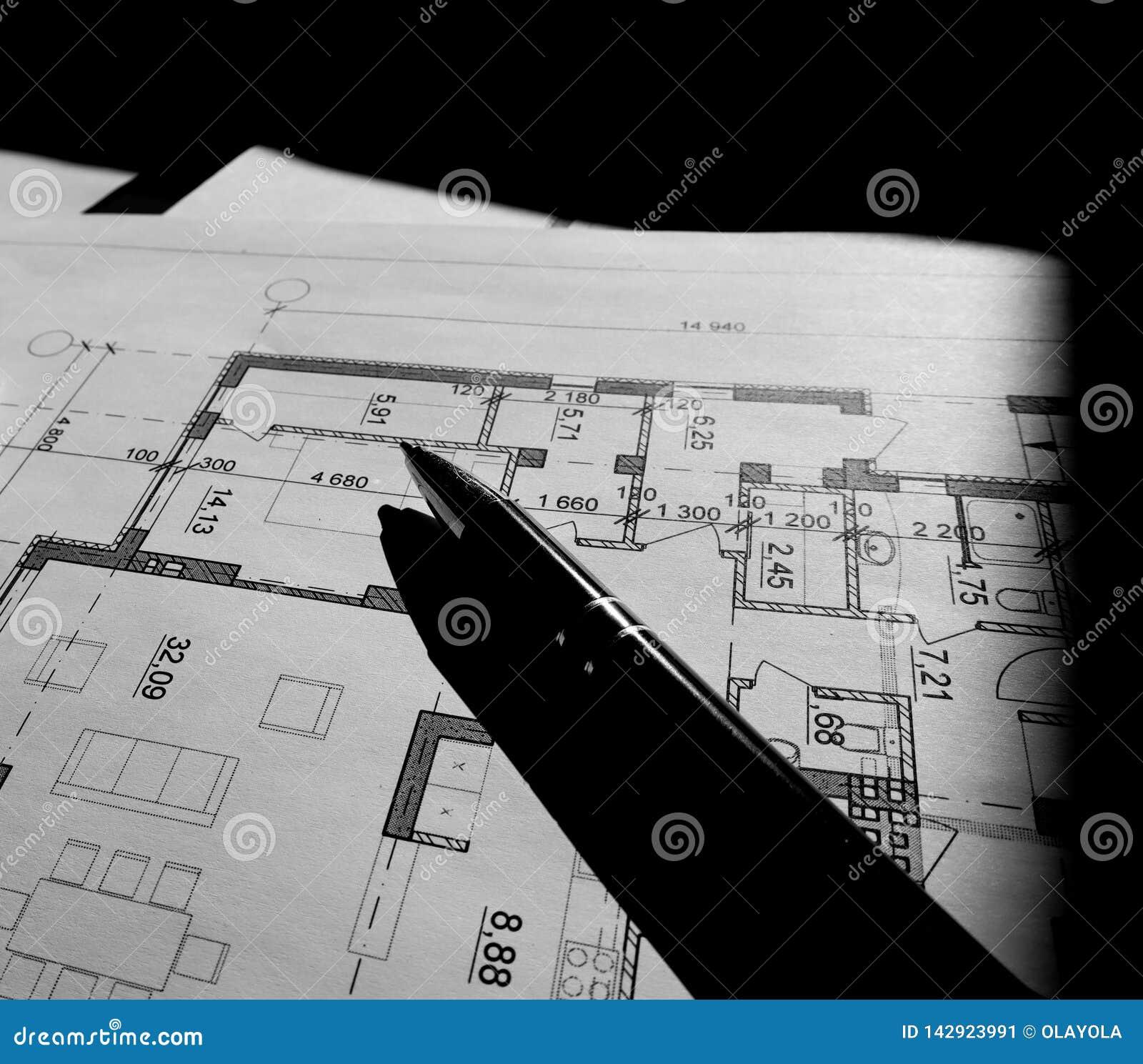 Parte del proyecto arquitect?nico aislada en fondo negro