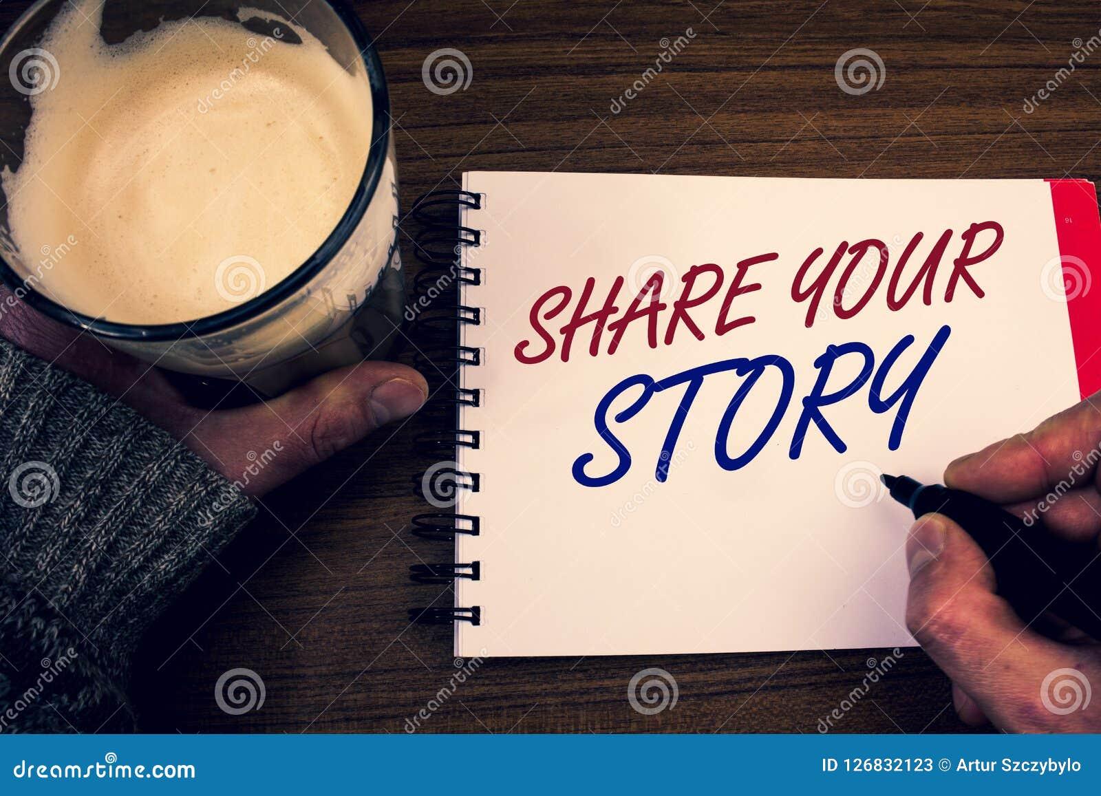 Parte del texto de la escritura de la palabra su historia Concepto del negocio para la libreta personal de las palabras de la mem