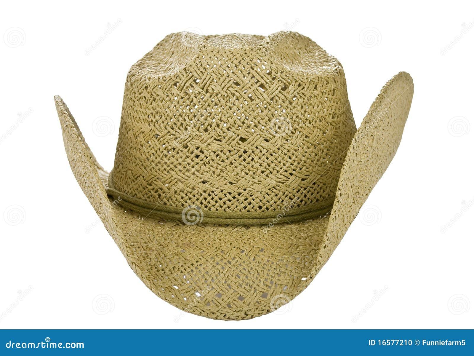 Parte delantera americana del sombrero de vaquero de la paja aislada en  blanco 4d3604d397f