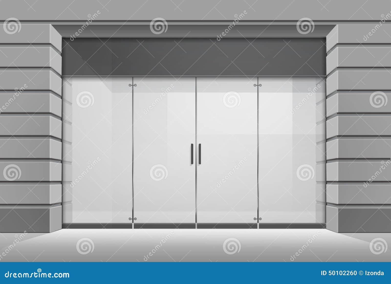 Parte dianteira da loja do boutique da loja do vetor com janela grande