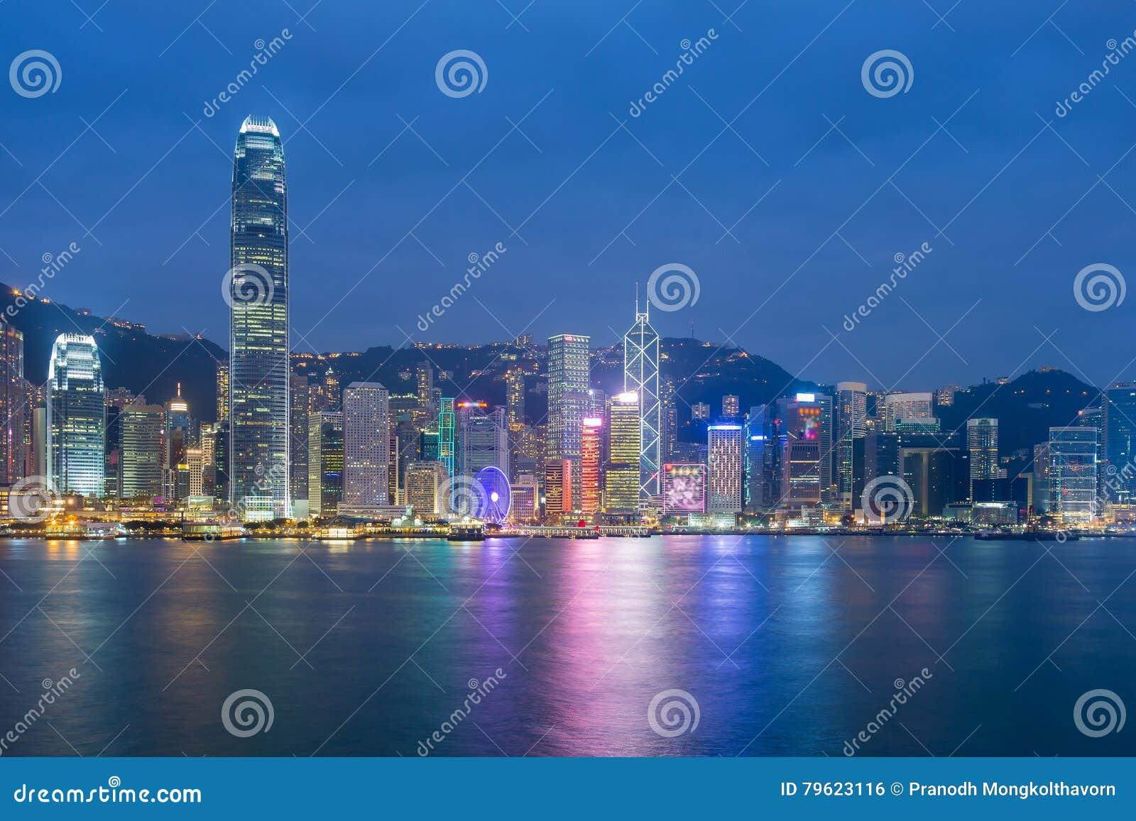 Parte dianteira de mar da cidade de Hong Kong