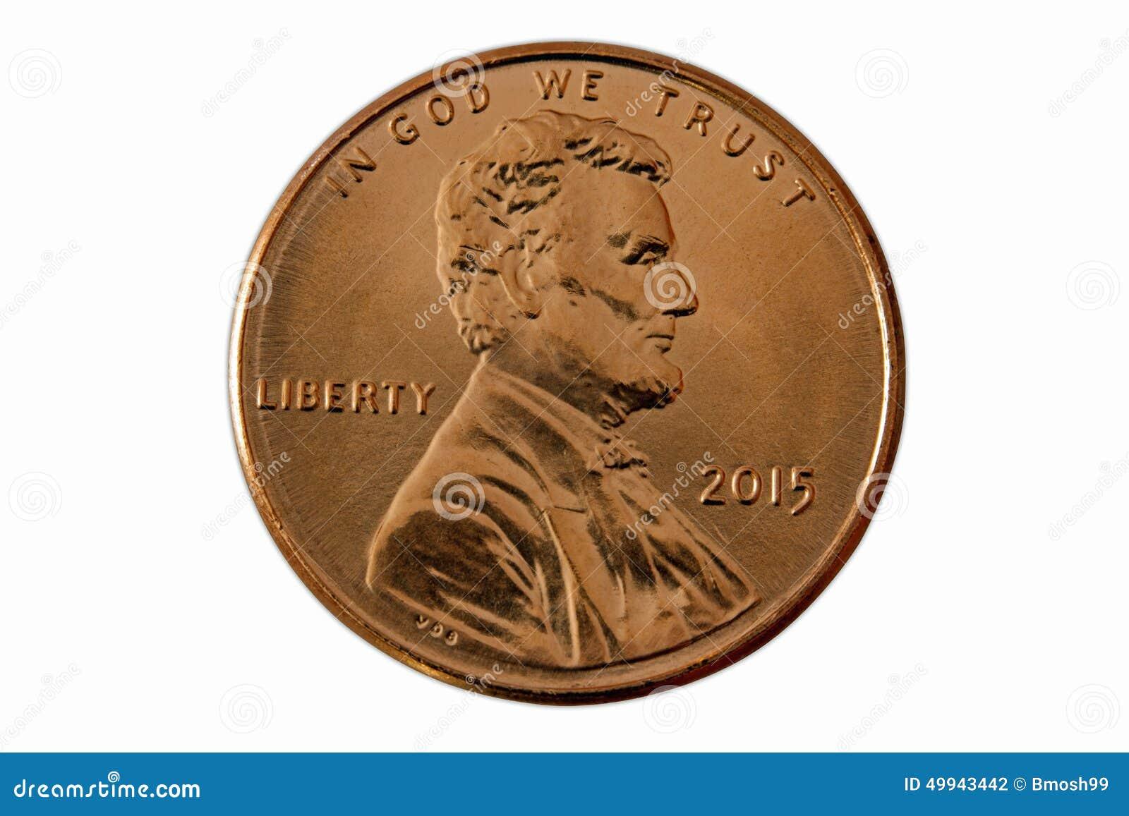 Parte dianteira de uma moeda de um centavo 2015