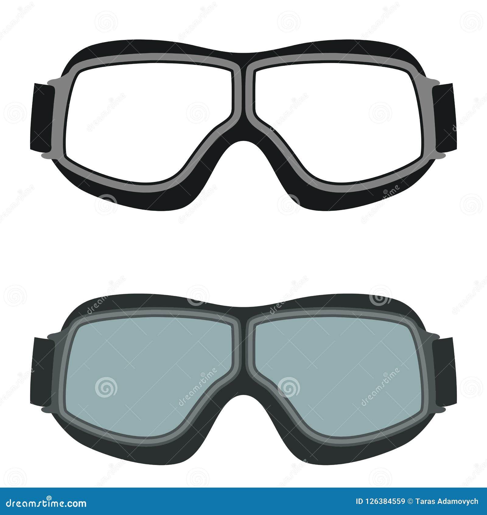23e22f3b6ac26 Os óculos de proteção de Moto vector a parte anterior do estilo liso da  ilustração