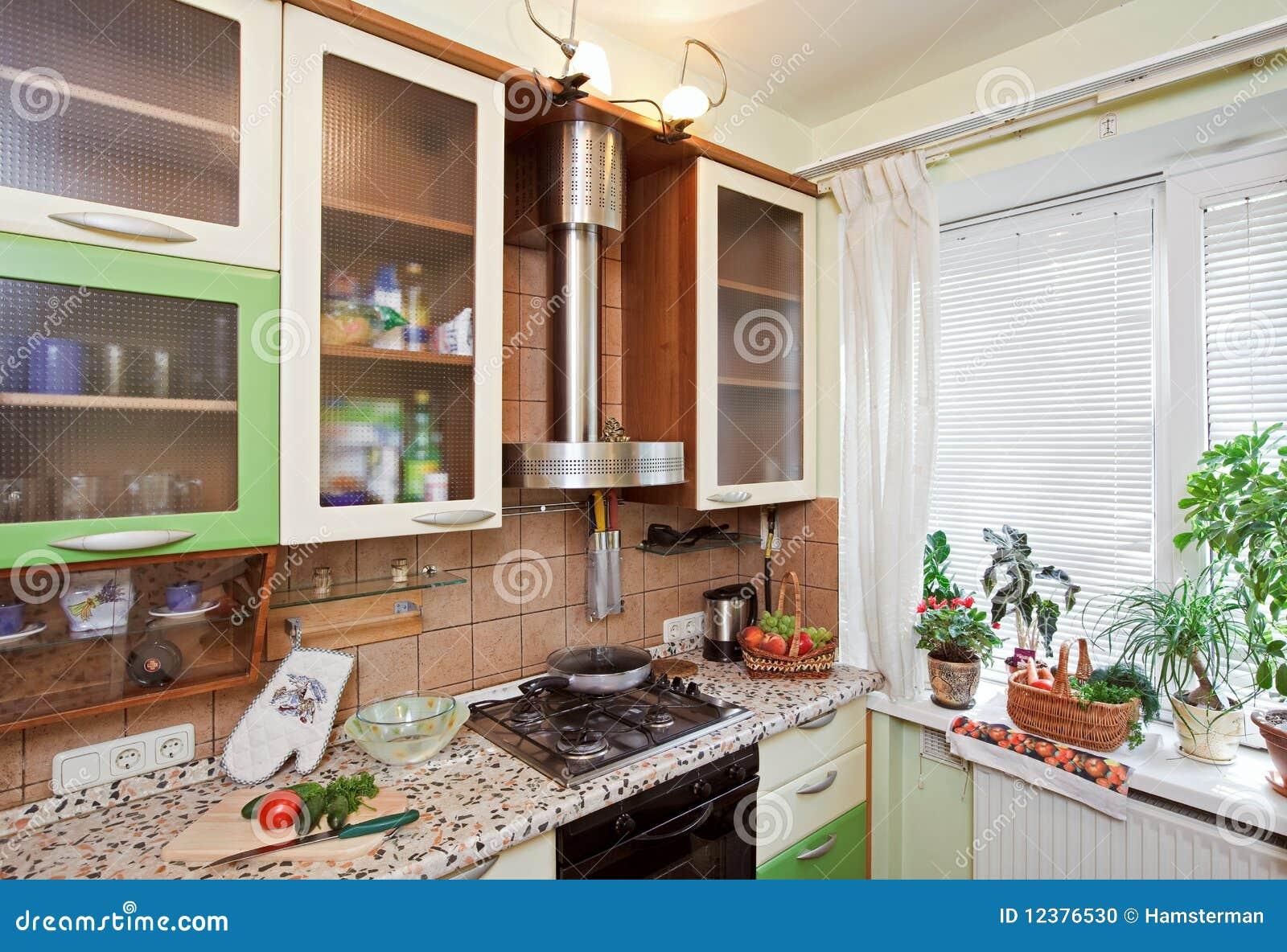 de Stock: Parte do interior verde da cozinha com muitos utensílios #955C36 1300 979
