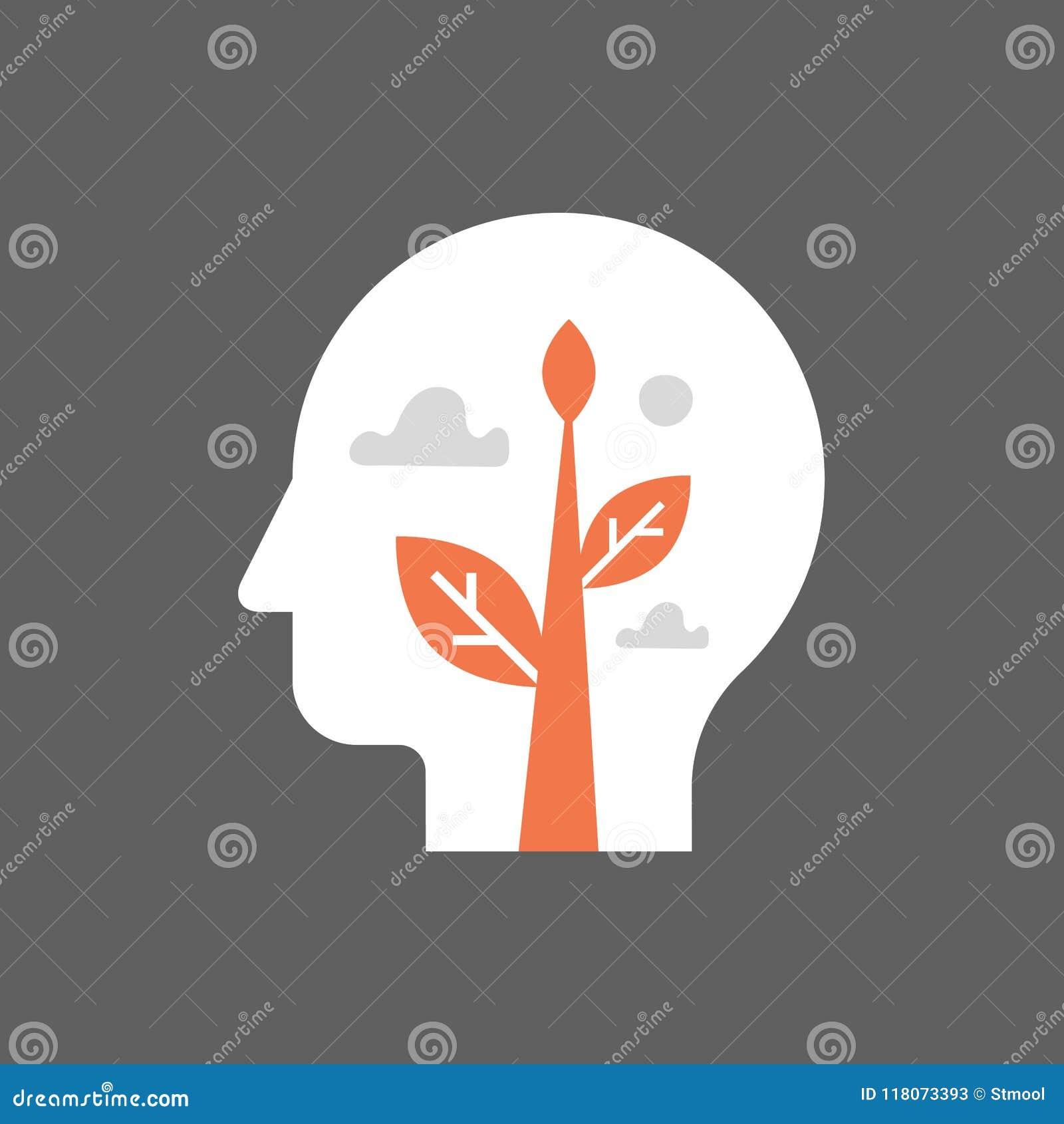 Parte interna, crescimento do auto, desenvolvimento potencial, saúde mental, mindset positivo, estilo de vida consciente, prática