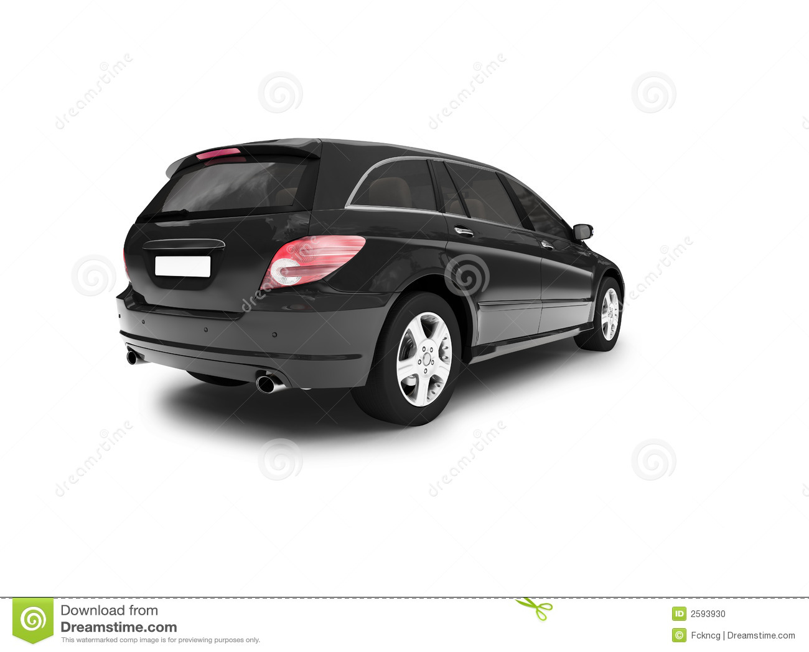 Parte posterior negra aislada del coche