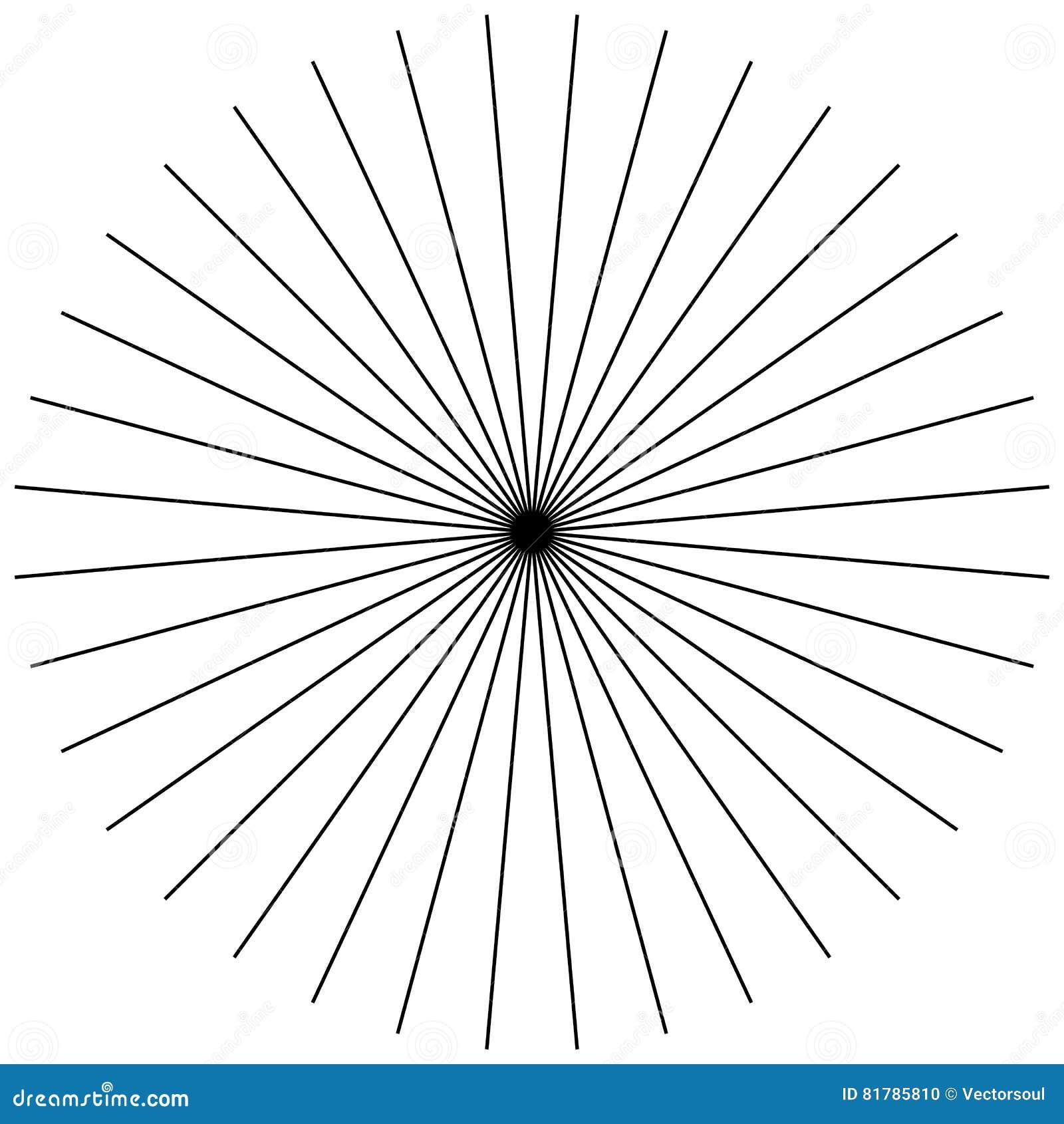 Parte radial, irradiando líneas finas rectas Blanco y negro circular
