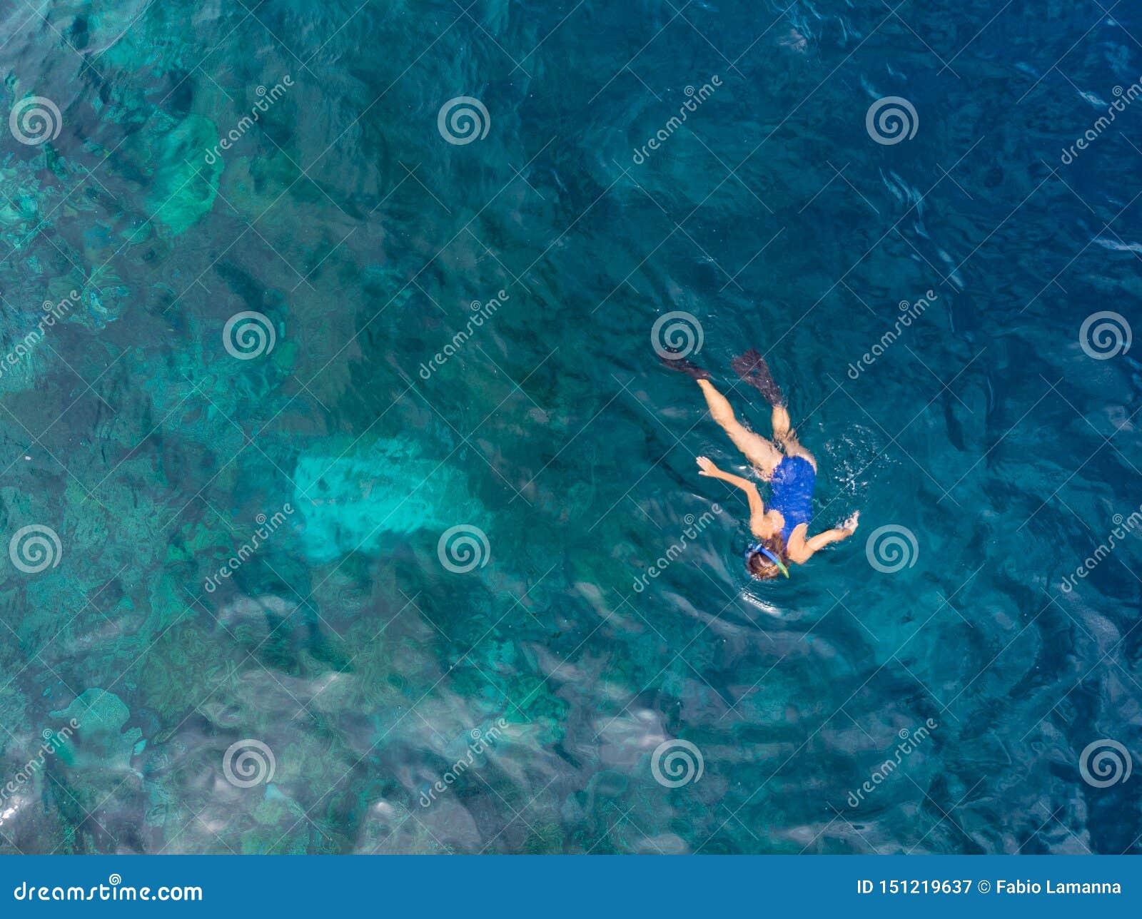 Parte superior a?rea abaixo dos povos que mergulham no mar das cara?bas tropical do recife de corais, ?gua azul de turquesa Arqui