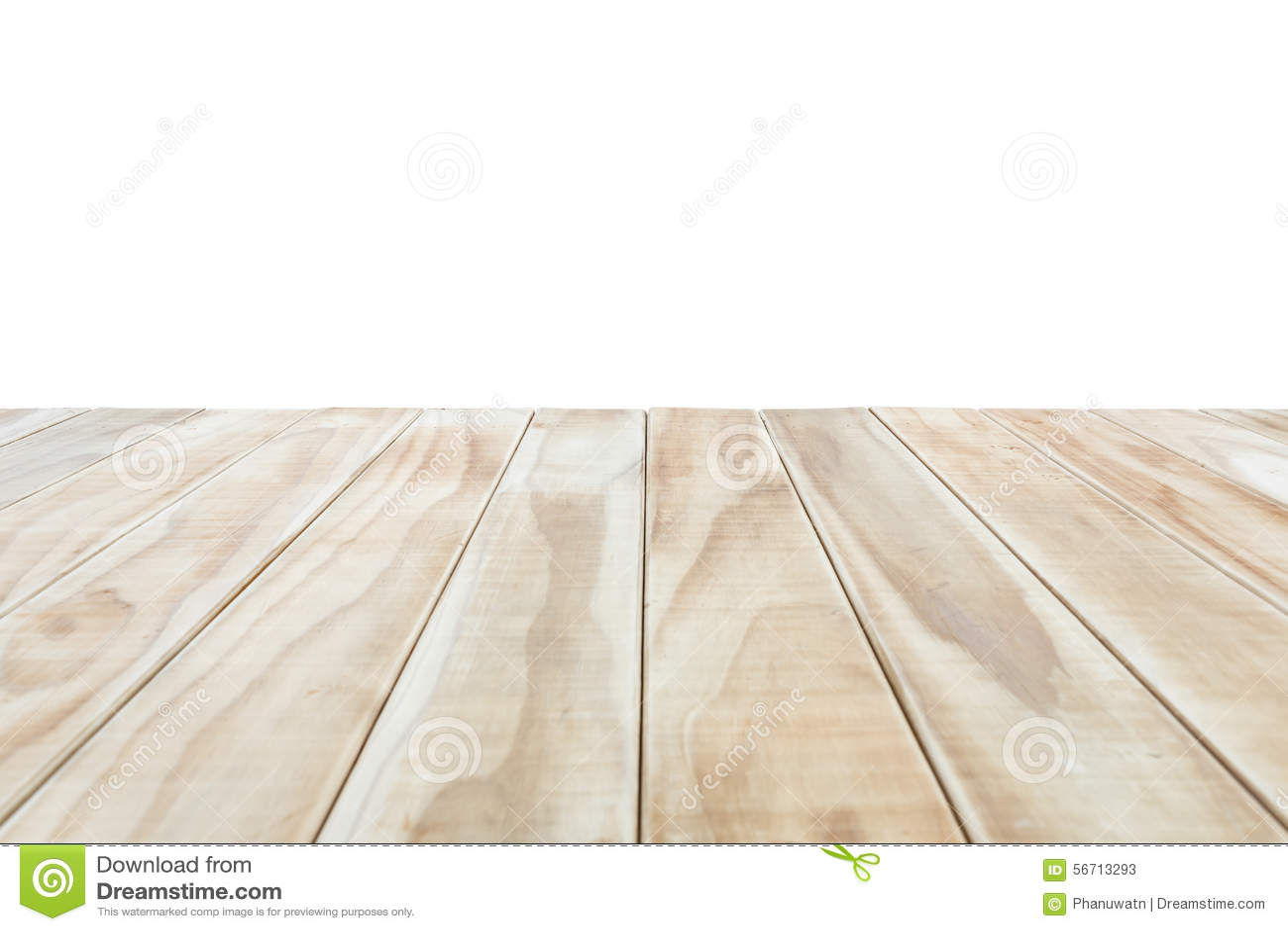 Parte superior vazia da tabela ou do contador de madeira isolada no backgroun branco
