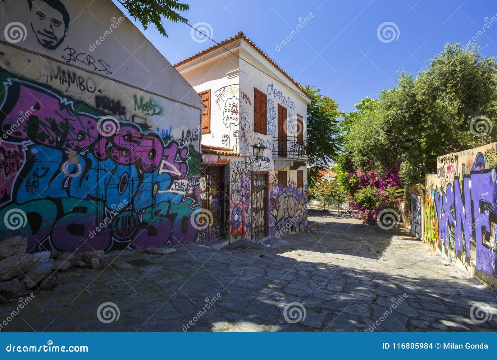 Parte trascurata di vecchia città ateniese