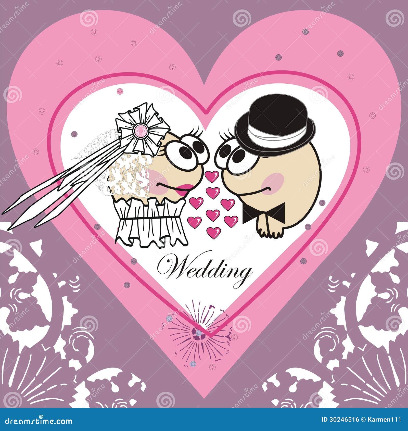 Partecipazione di nozze dell invito cartone animato