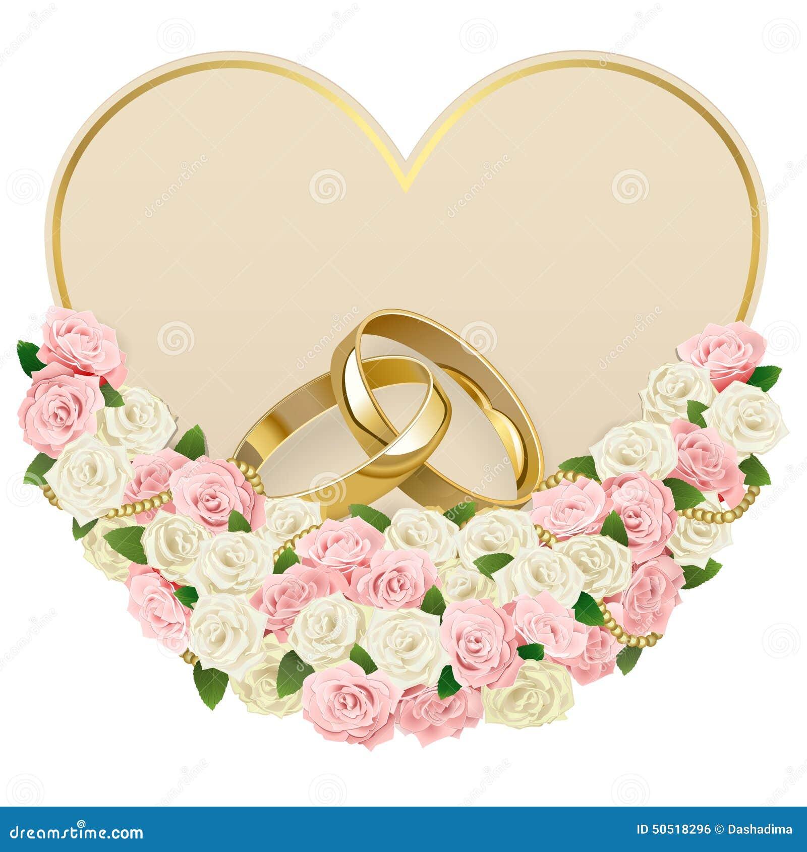 Partecipazione di nozze di vettore con gli anelli