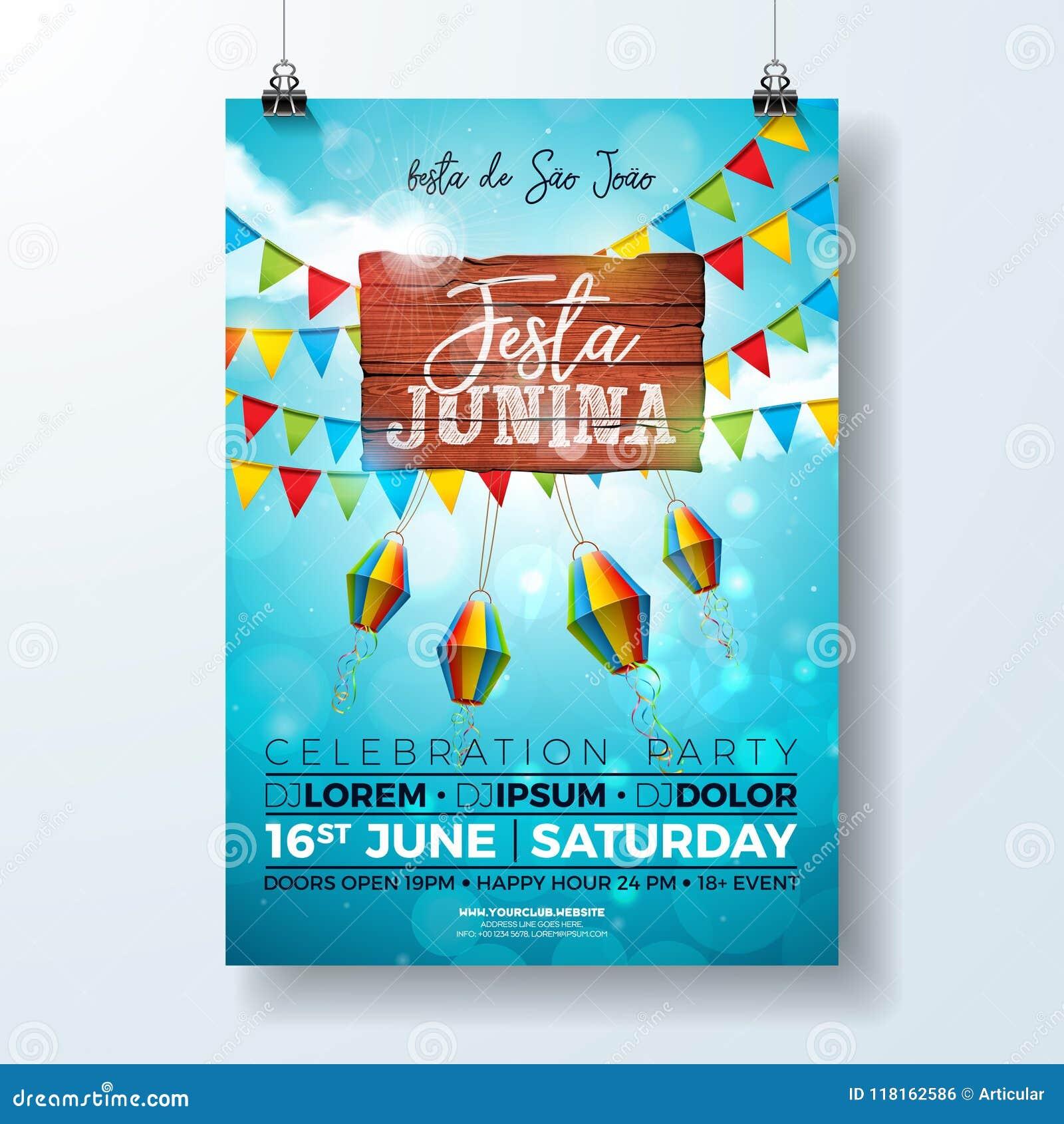 Partei-Flieger-Illustration Festa Junina mit Typografiedesign auf Weinleseholzbrett Flaggen und Papierlaterne auf blauem Himmel