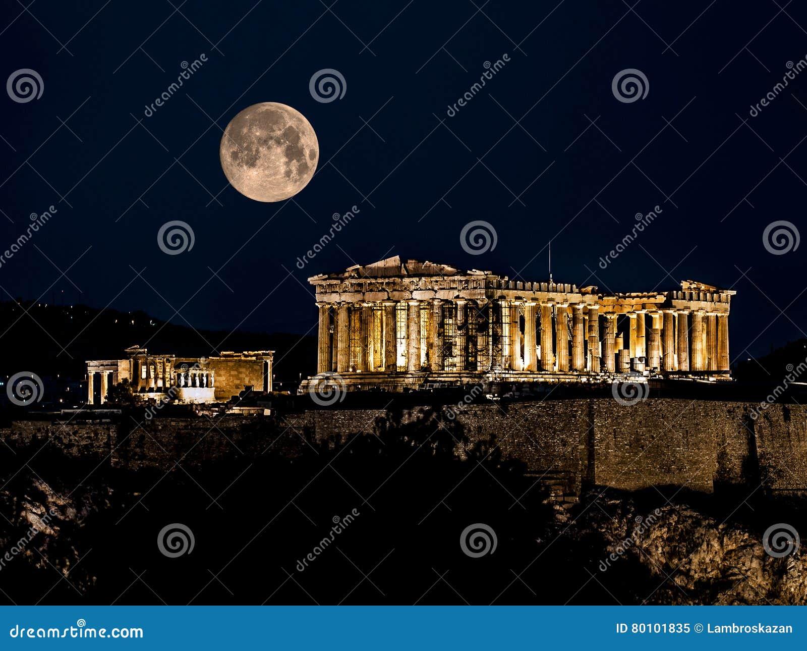 Partenon de Atenas na noite com Lua cheia