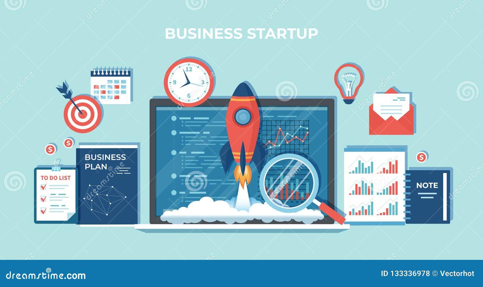 Partenza, pianificazione finanziaria, idea, strategia, gestione, realizzazione e successo di progetto di affari Lancio di Rocket