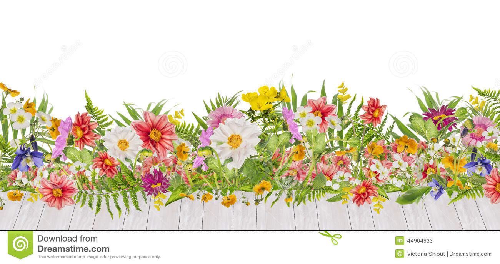 parterre avec les fleurs de dahlias et la terrasse en bois. Black Bedroom Furniture Sets. Home Design Ideas