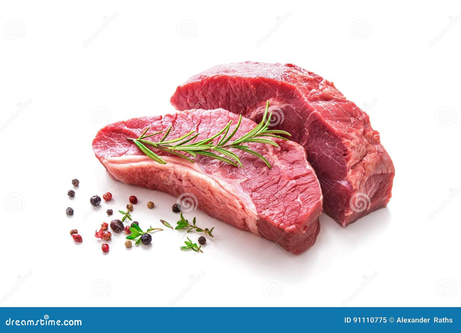 Partes de carne crua da carne assada com ingredientes