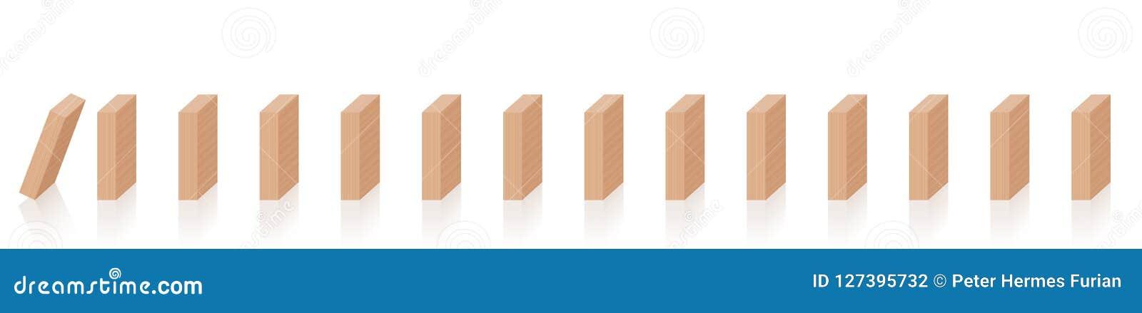 Partes de madeira de queda da reação em cadeia dos dominós