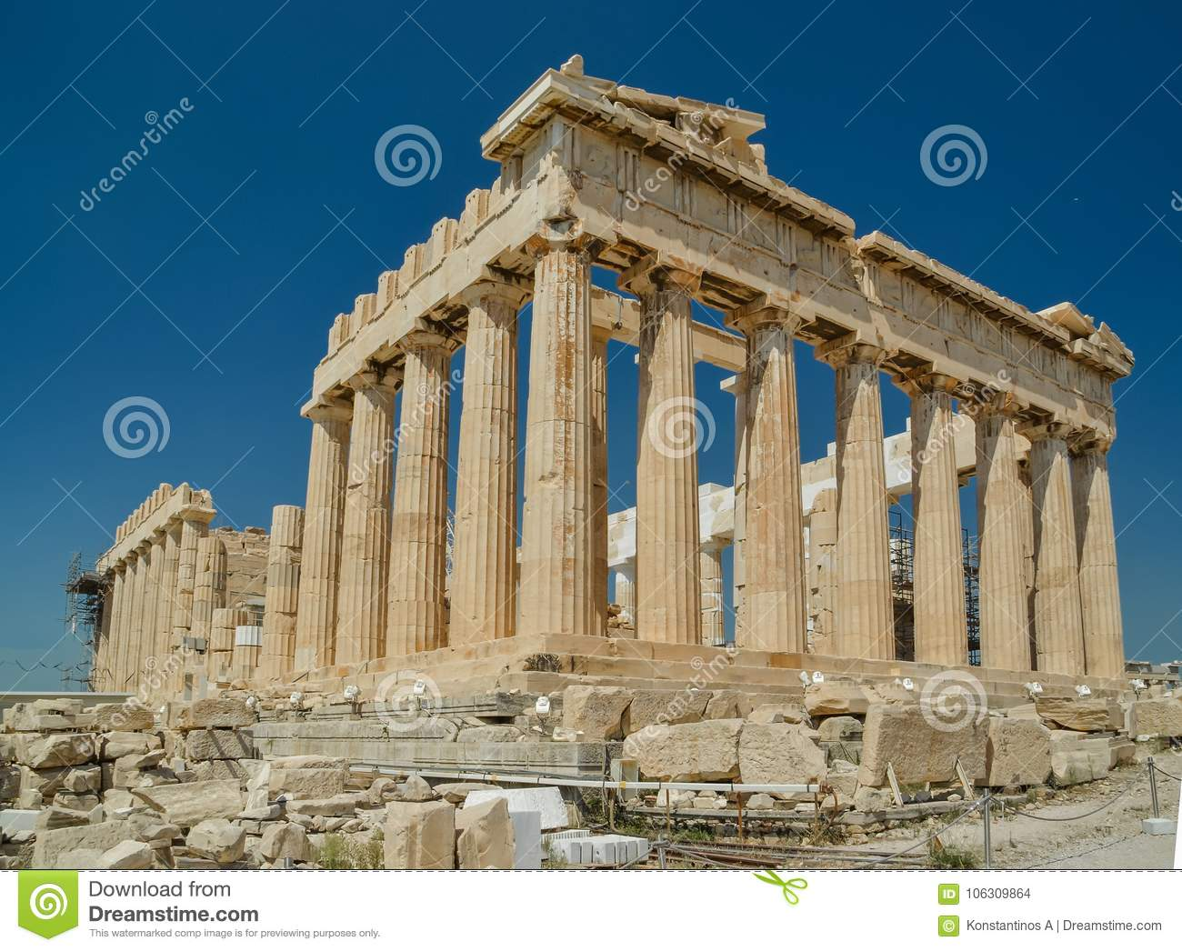 Parthenon ancient greek temple in greek capital Athens Greece
