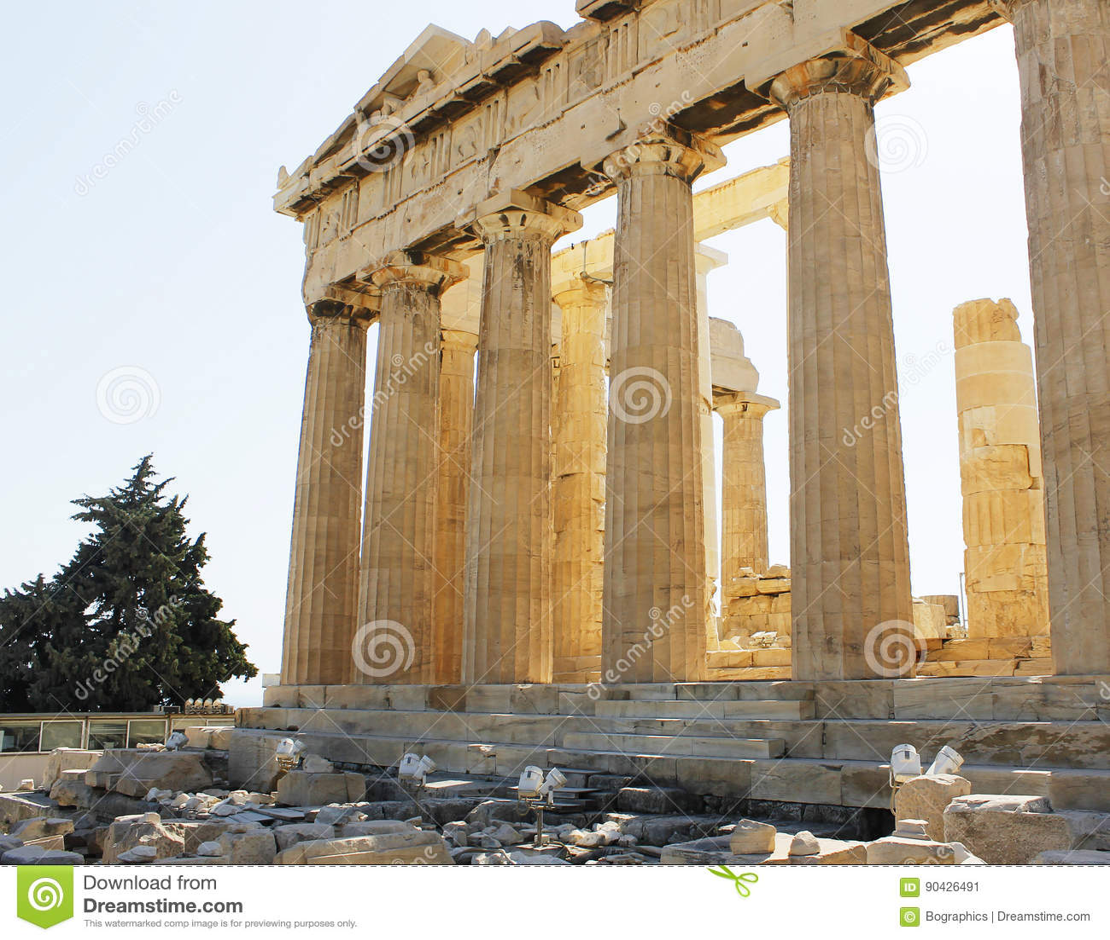 Parthenon columns warm sun light Athens