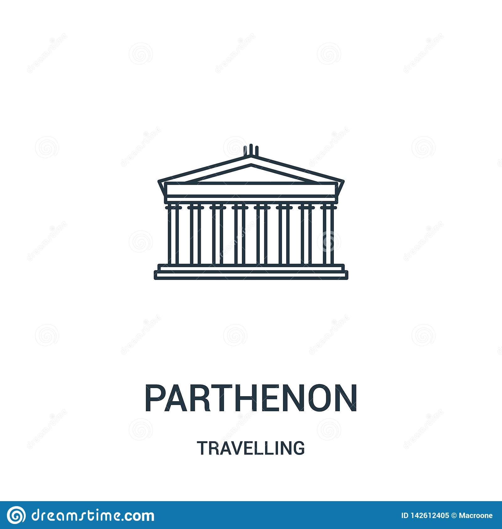 parthenon icon vector from travelling collection. Thin line parthenon outline icon vector illustration. Linear symbol