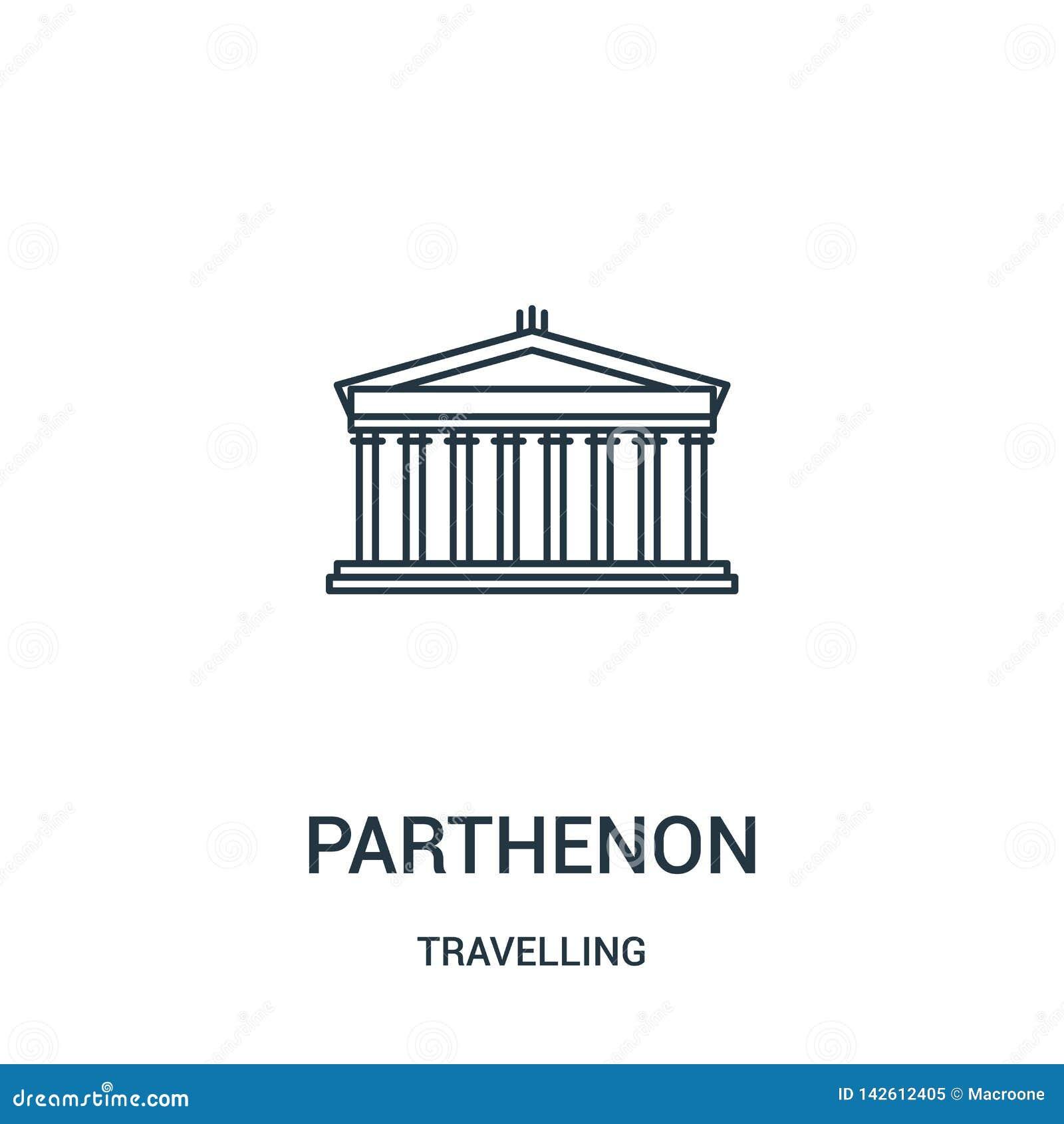 Parthenon pictogramvector van reizende inzameling De dunne lijn parthenon schetst pictogram vectorillustratie Lineair symbool