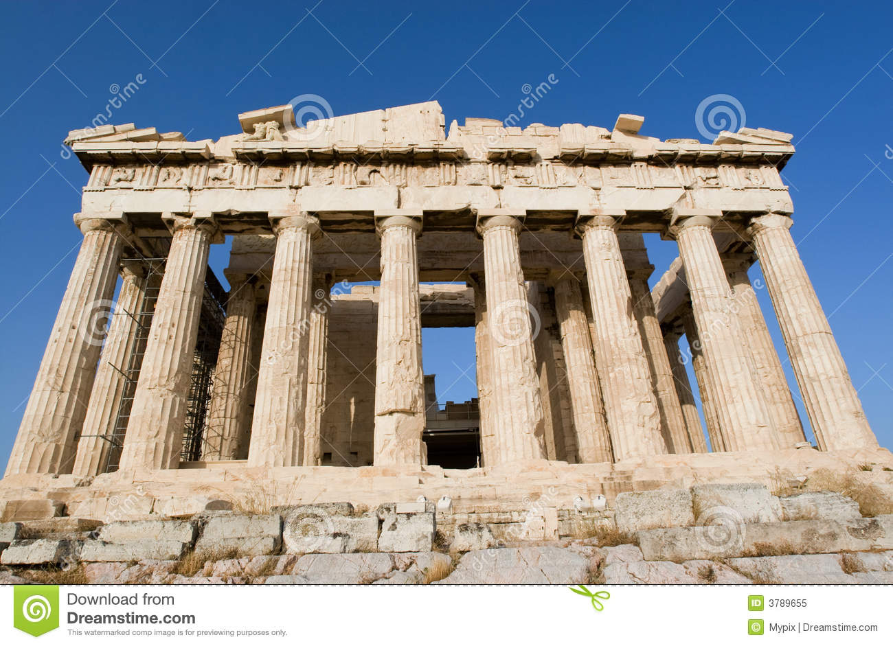 parthenon temple in athens stock image image of