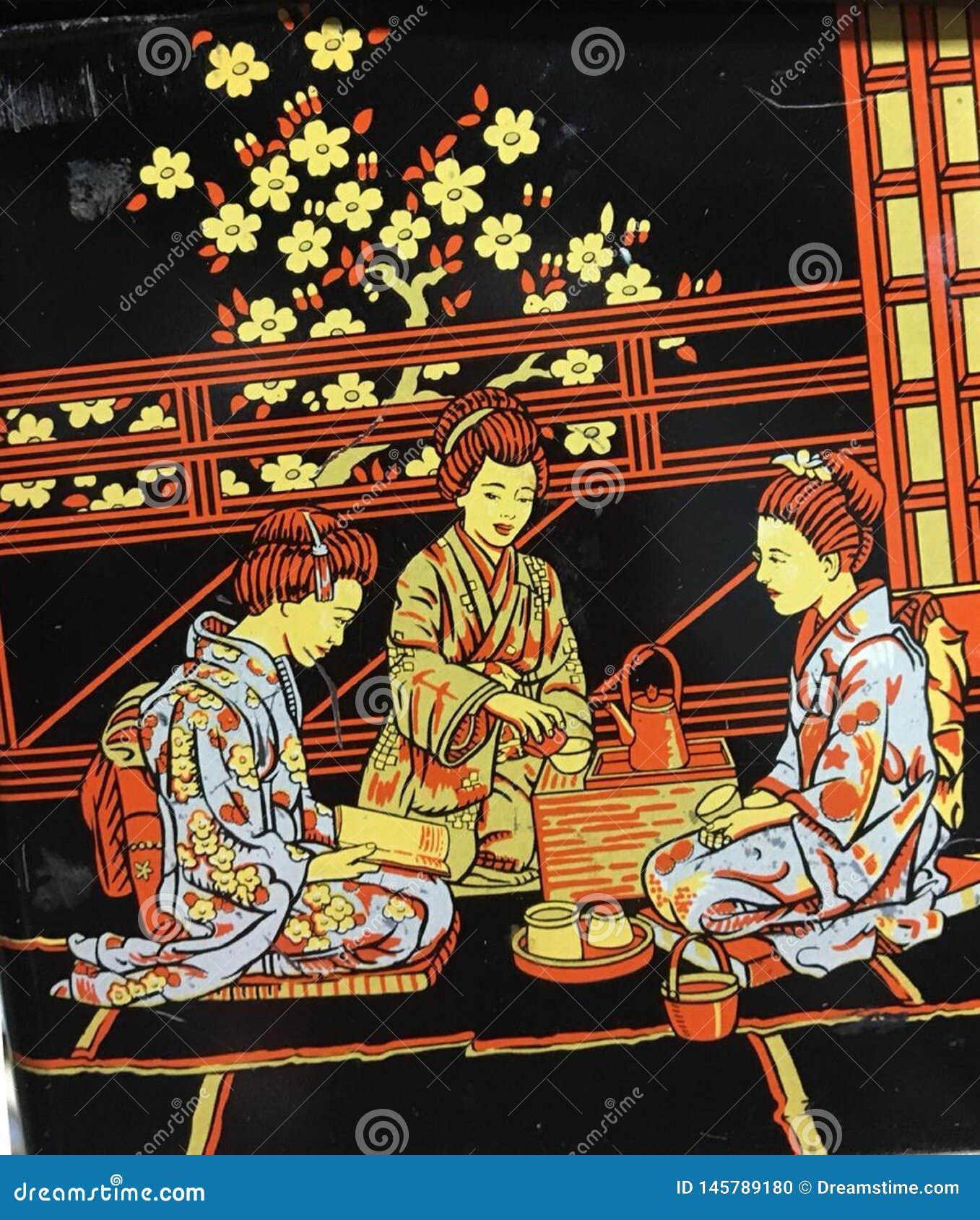 Parti beröm, stor fest, kimono, meditation