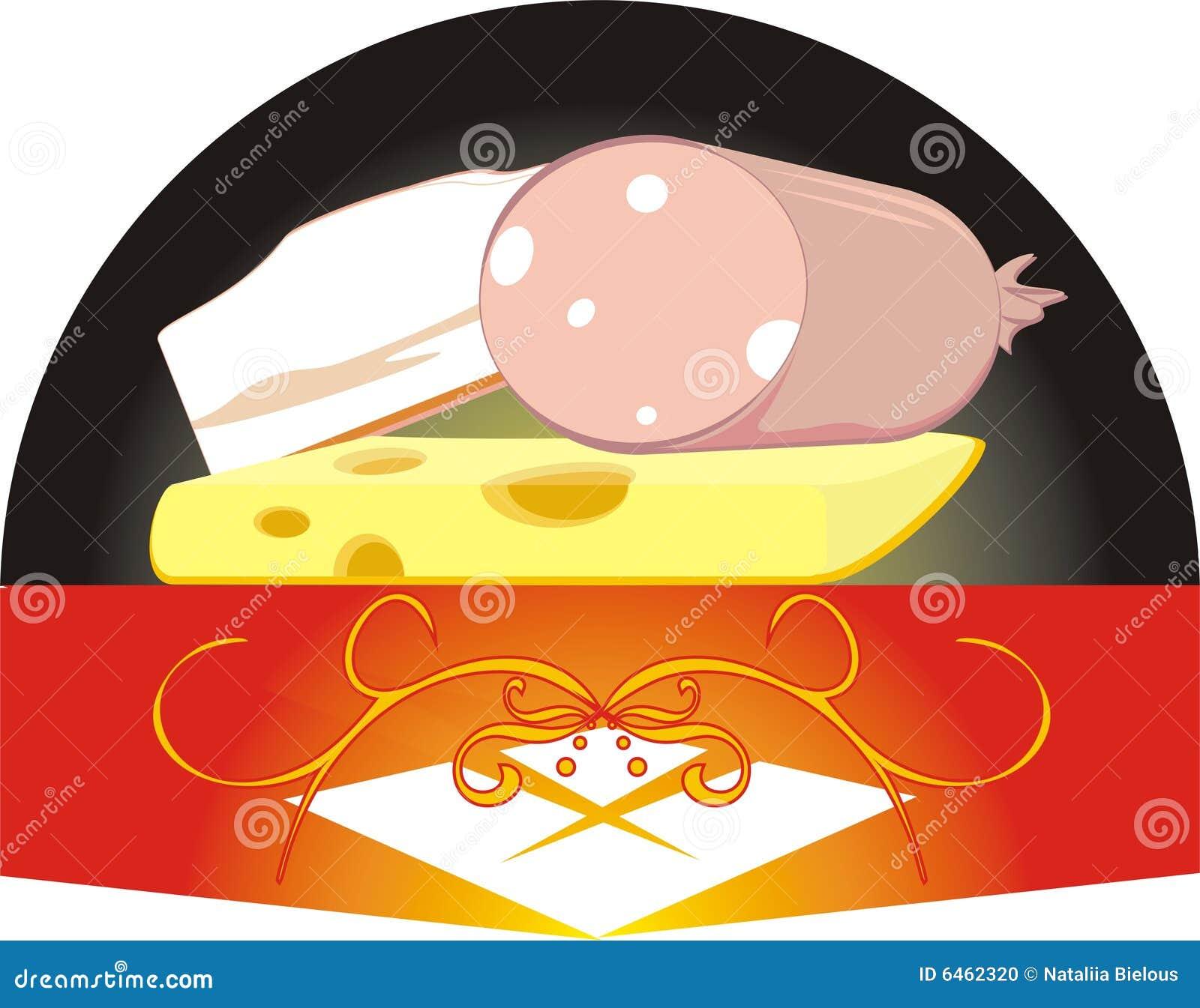 Parti di un formaggio, di una salsiccia e di una pancetta affumicata