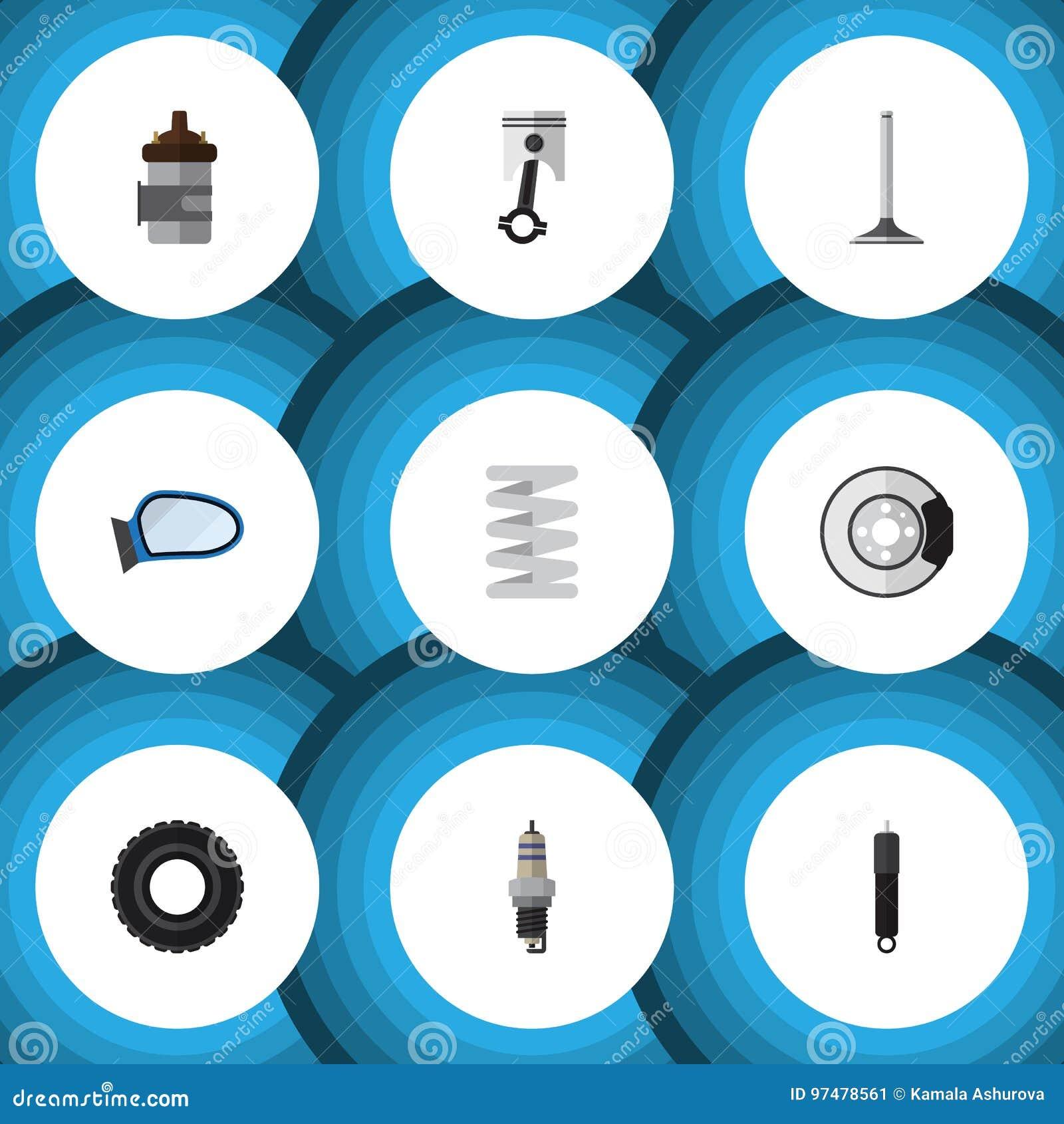 Parti piane dell icona messe di metallo, del segmento dell automobile, della combustione e di altri oggetti di vettore Inoltre in