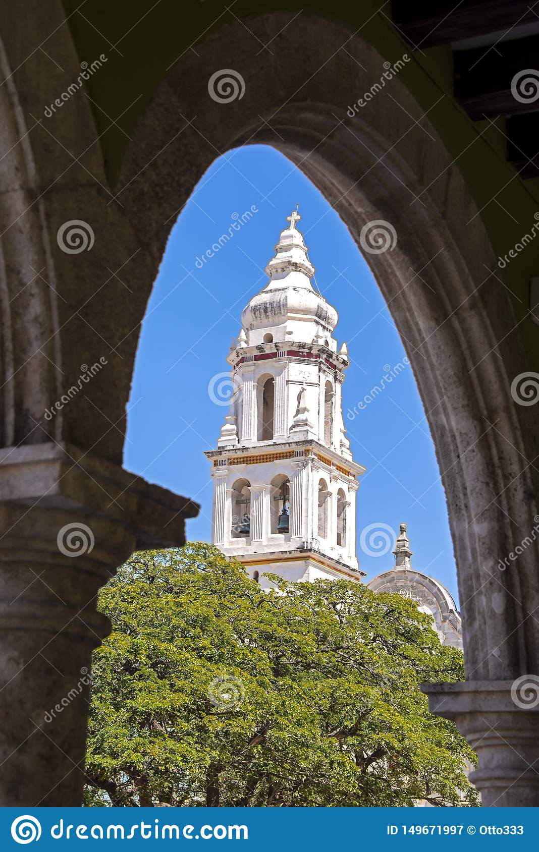 Framed colonial cathedral tower