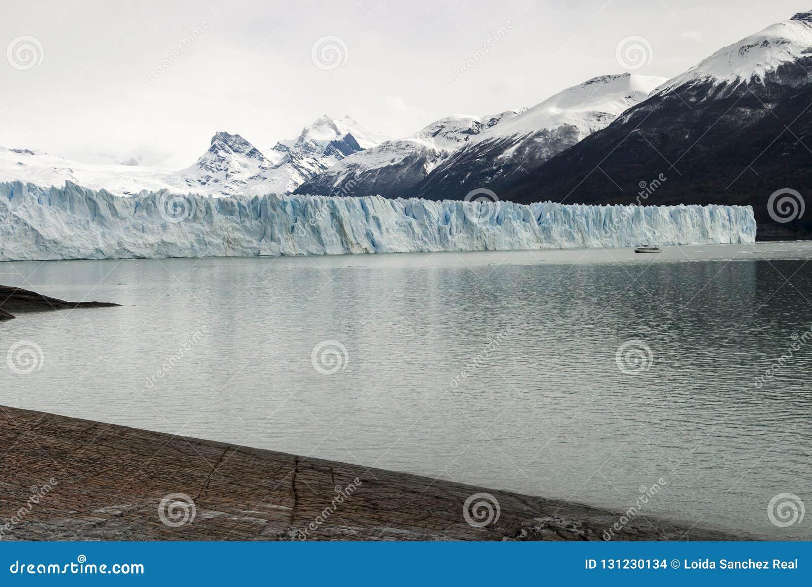 Partial view of the Perito Moreno Glacier on a hike