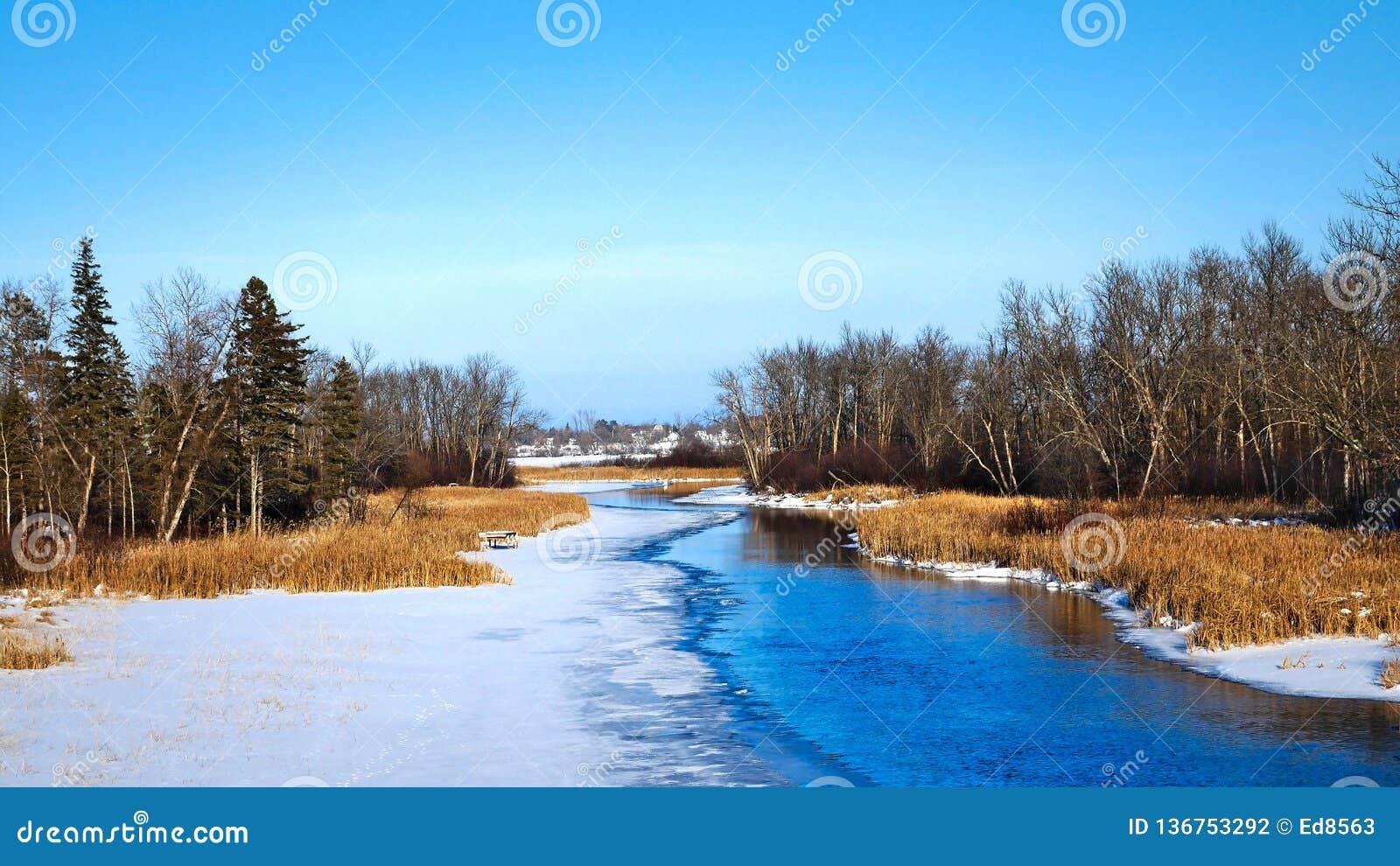 Partially frozen Mississippi River flows north toward Bemidji Minnesota in winter