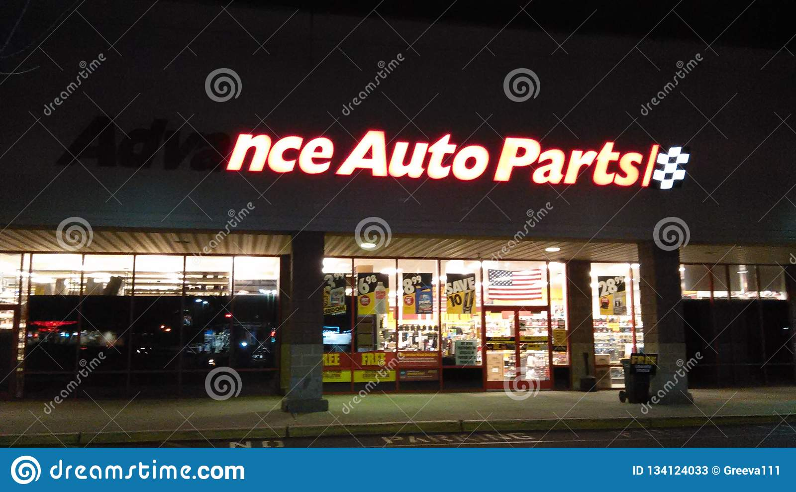 Partially Lighted Advance Auto Parts Front Store Sign With