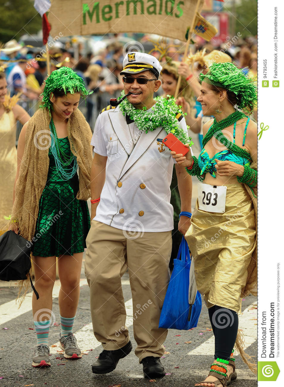 Participants march in the 35th Annual Mermaid Parade at Coney Island