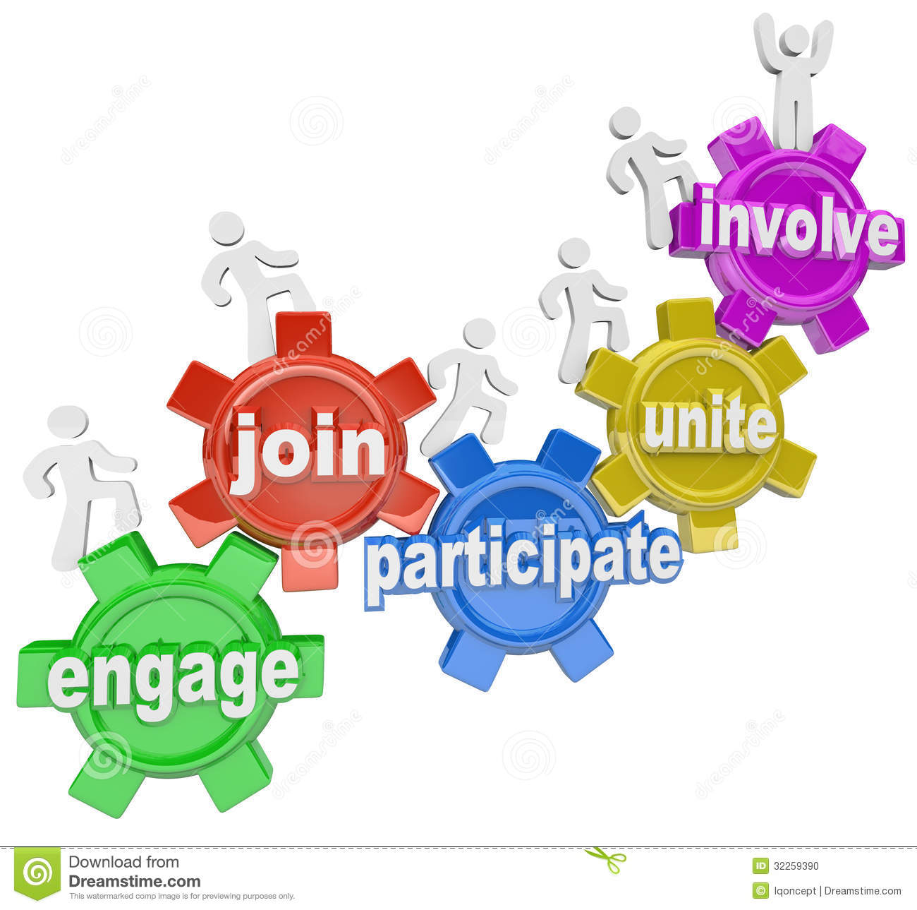 Participate People Climbing Gears Join Engage Involve