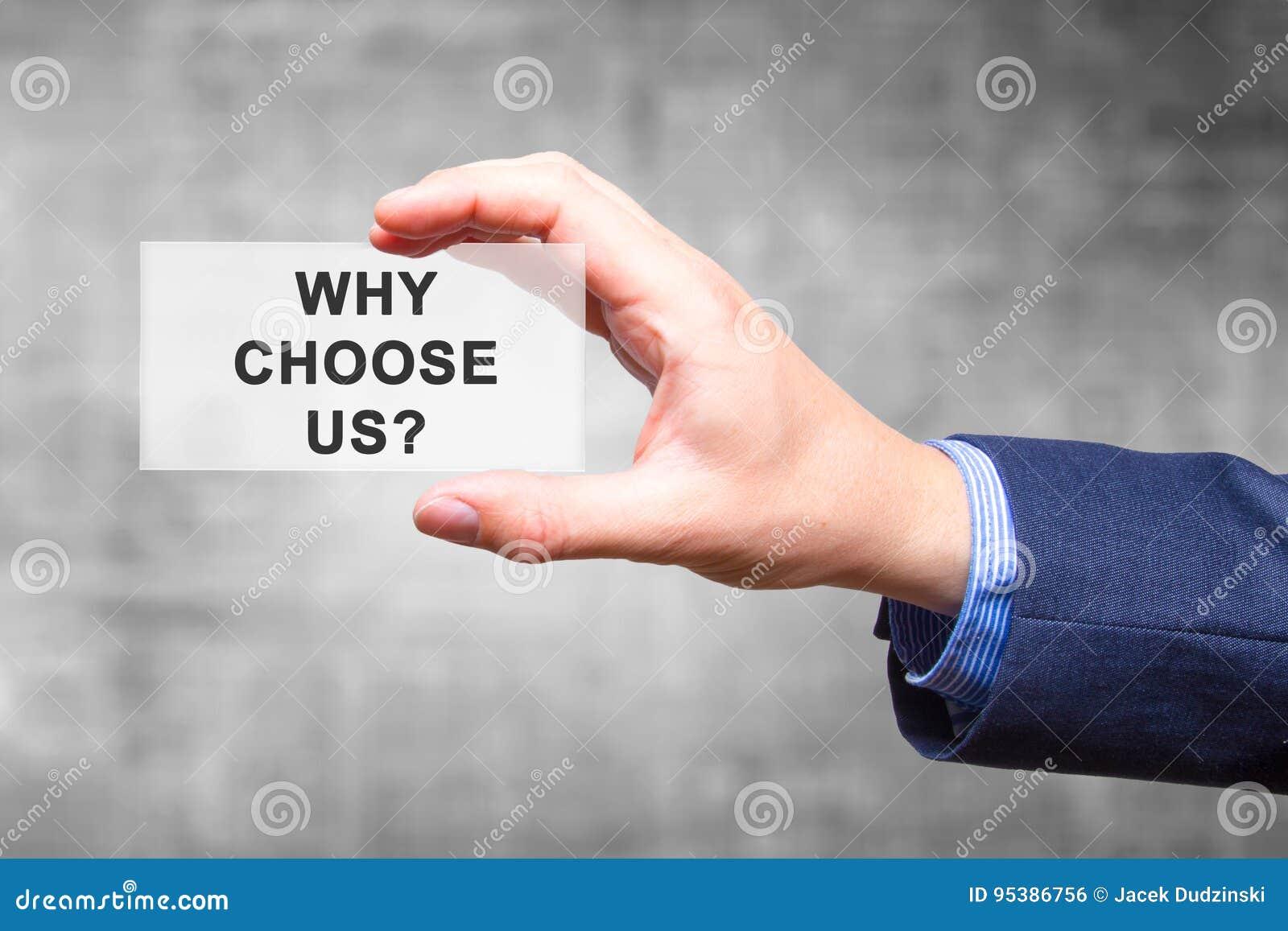 Participation de main d homme d affaires pourquoi choisissez-nous ? signez d isolement sur le Ba gris