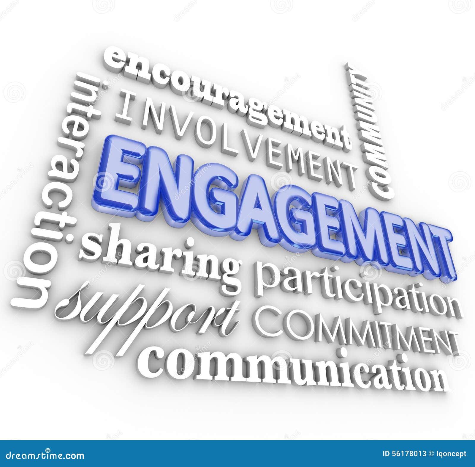 Participation de participation d interaction de collage de l engagement 3d Word