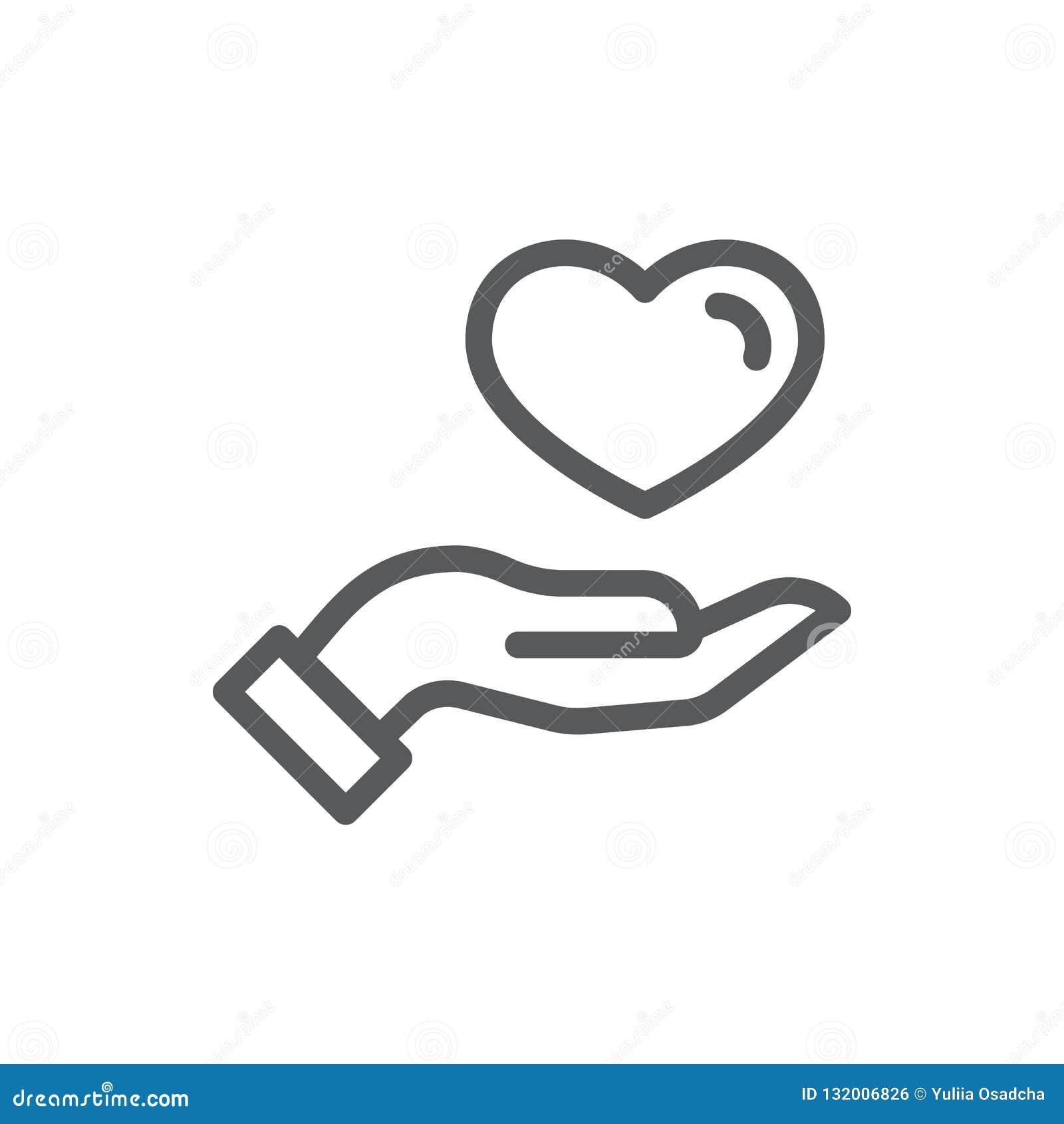 Participation humaine de main ou donner à coeur la ligne mince icône avec la course editable