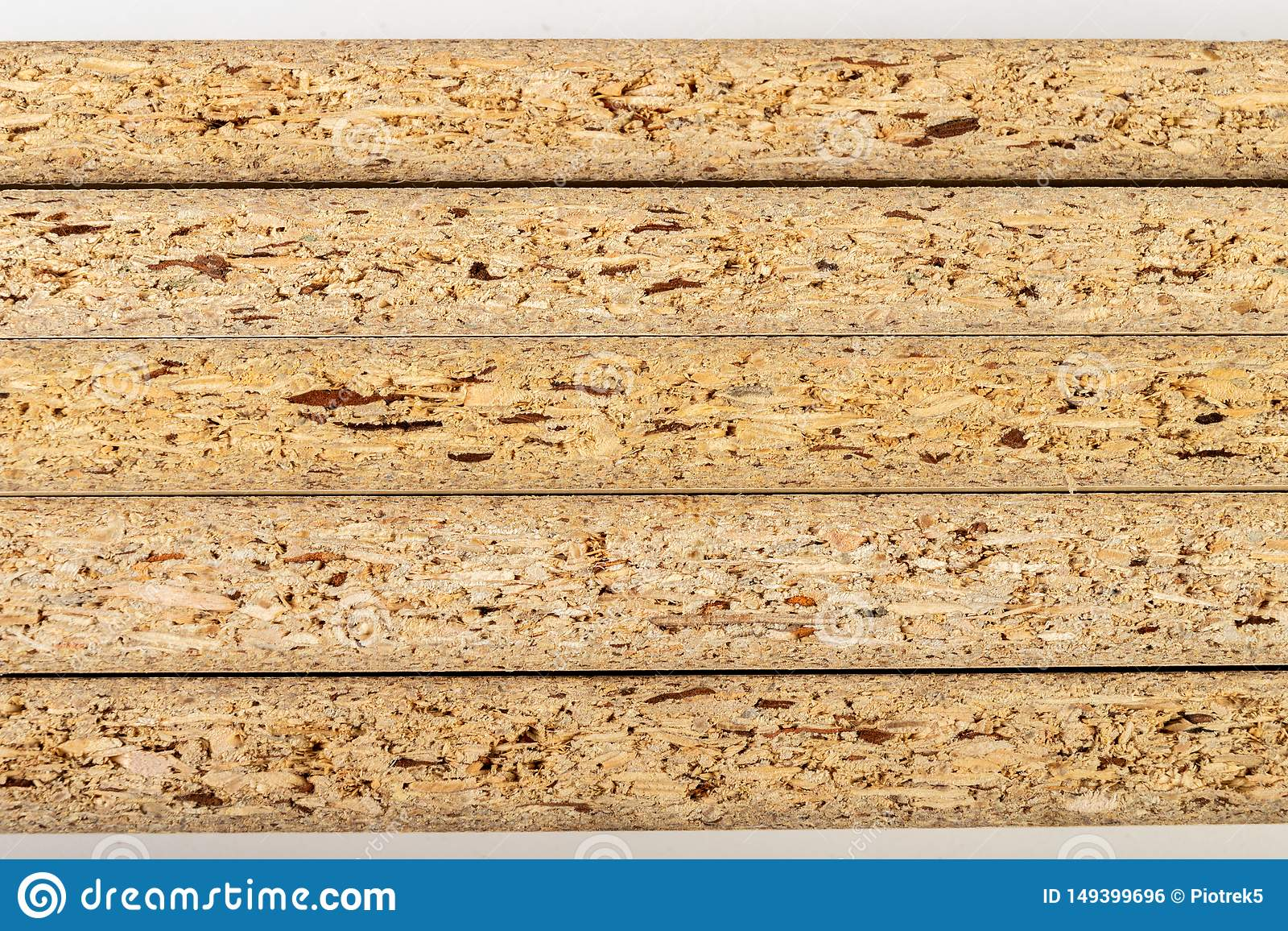 Particleboard With Veneer Is Cut Into Small Pieces