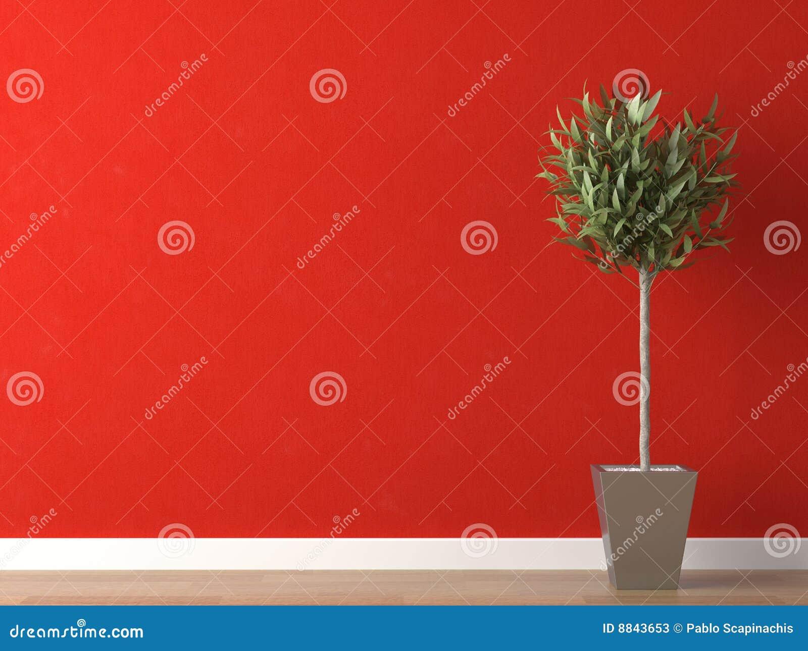 Particolare della pianta sulla parete rossa