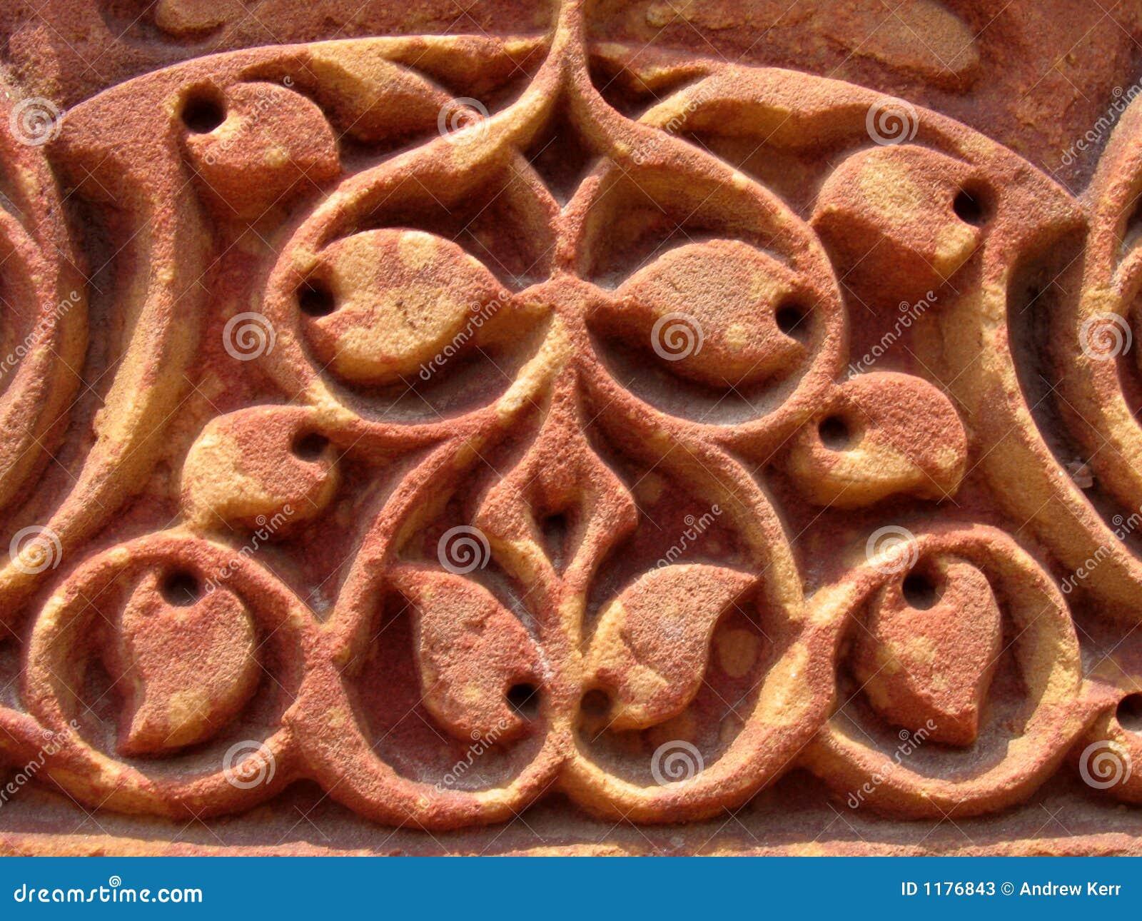 Particolare di scultura di pietra complicato