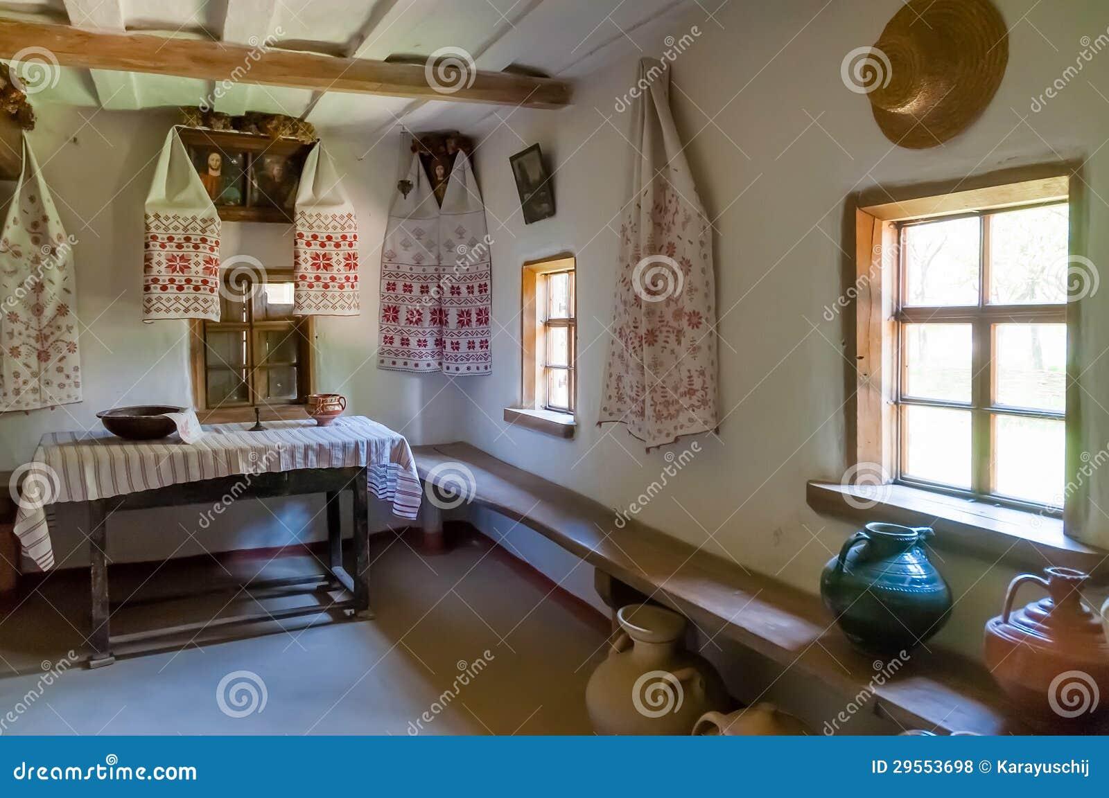 Particolare interno della casa antica ucraina tipica for Interno della casa
