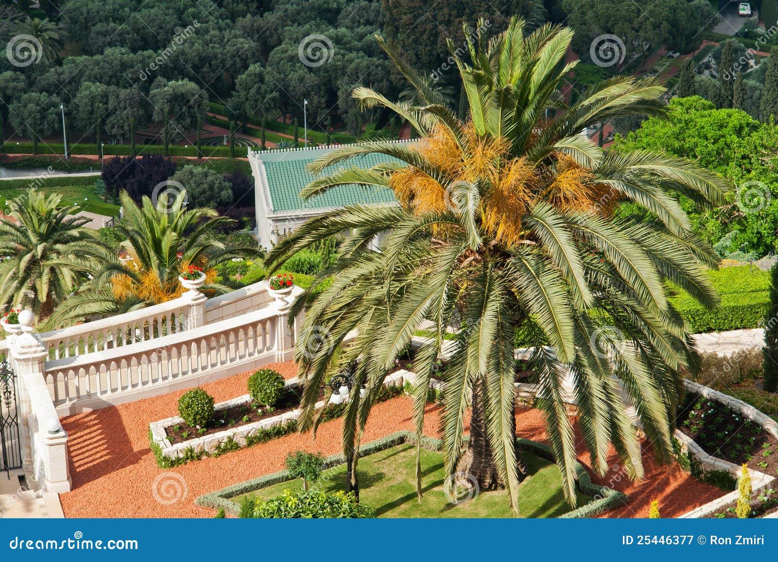 particolari dei giardini di bahai a haifa israele immagine
