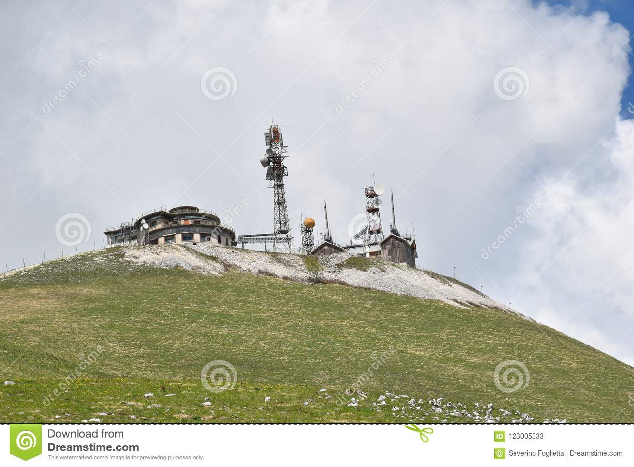 Particular View Of Radio Repeater Station In The Mountains Stock