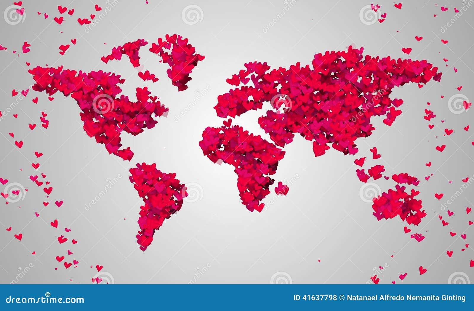 Particules rouges de forme d 39 amour de carte du monde illustration stock image 41637798 - Carte d amour ...