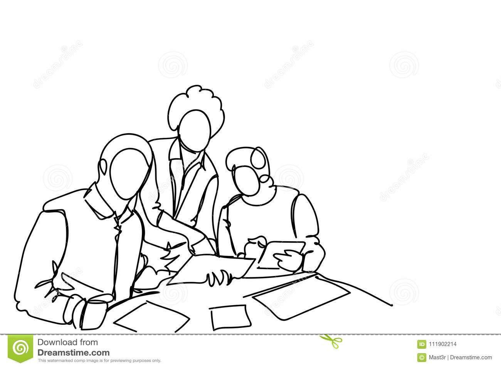 Partida de Team Working Together At New dos homens de negócio durante o estilo simples da garatuja da reunião de sessão de reflex